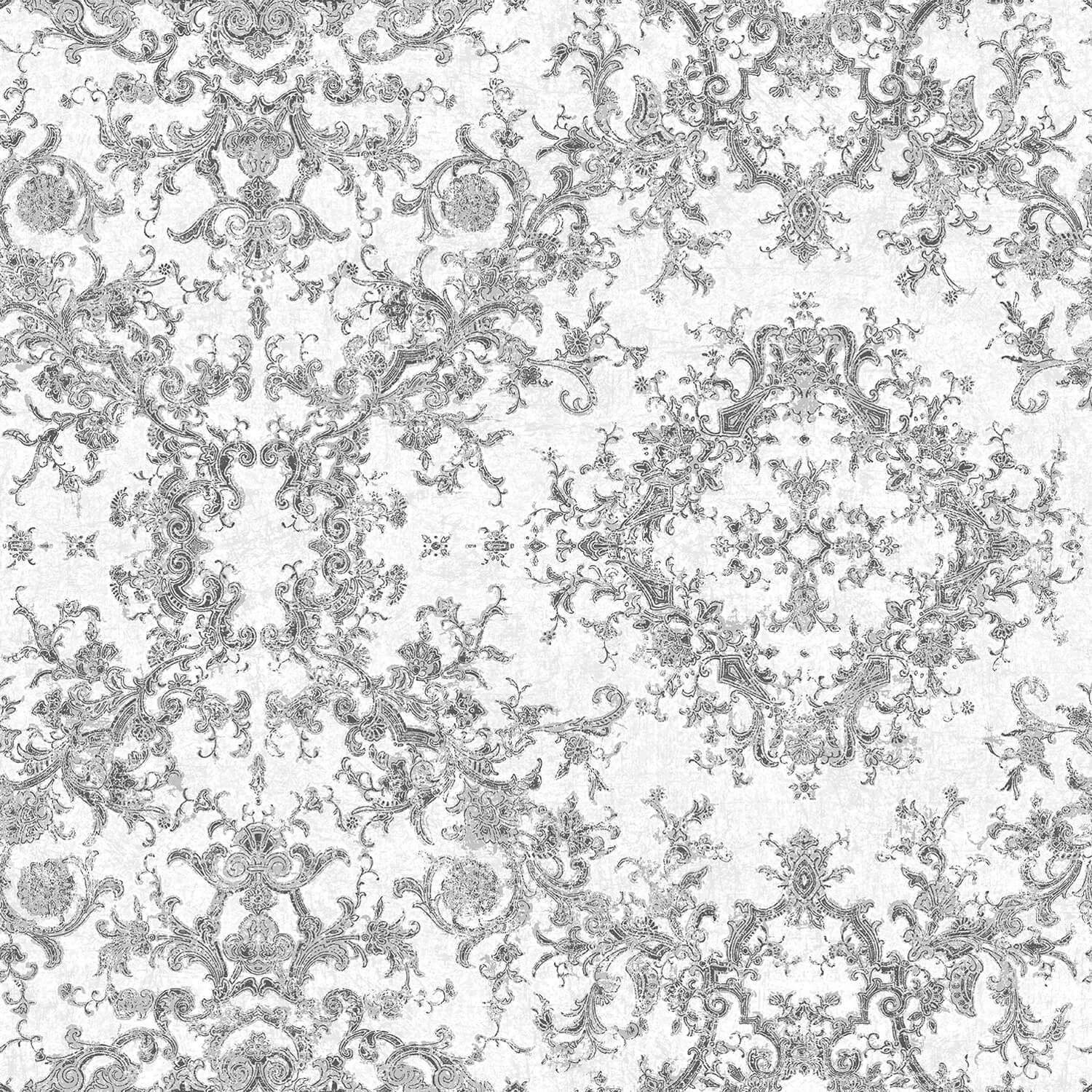 Galerie Contemporary Damask Wallpaper, Grey/ Silver