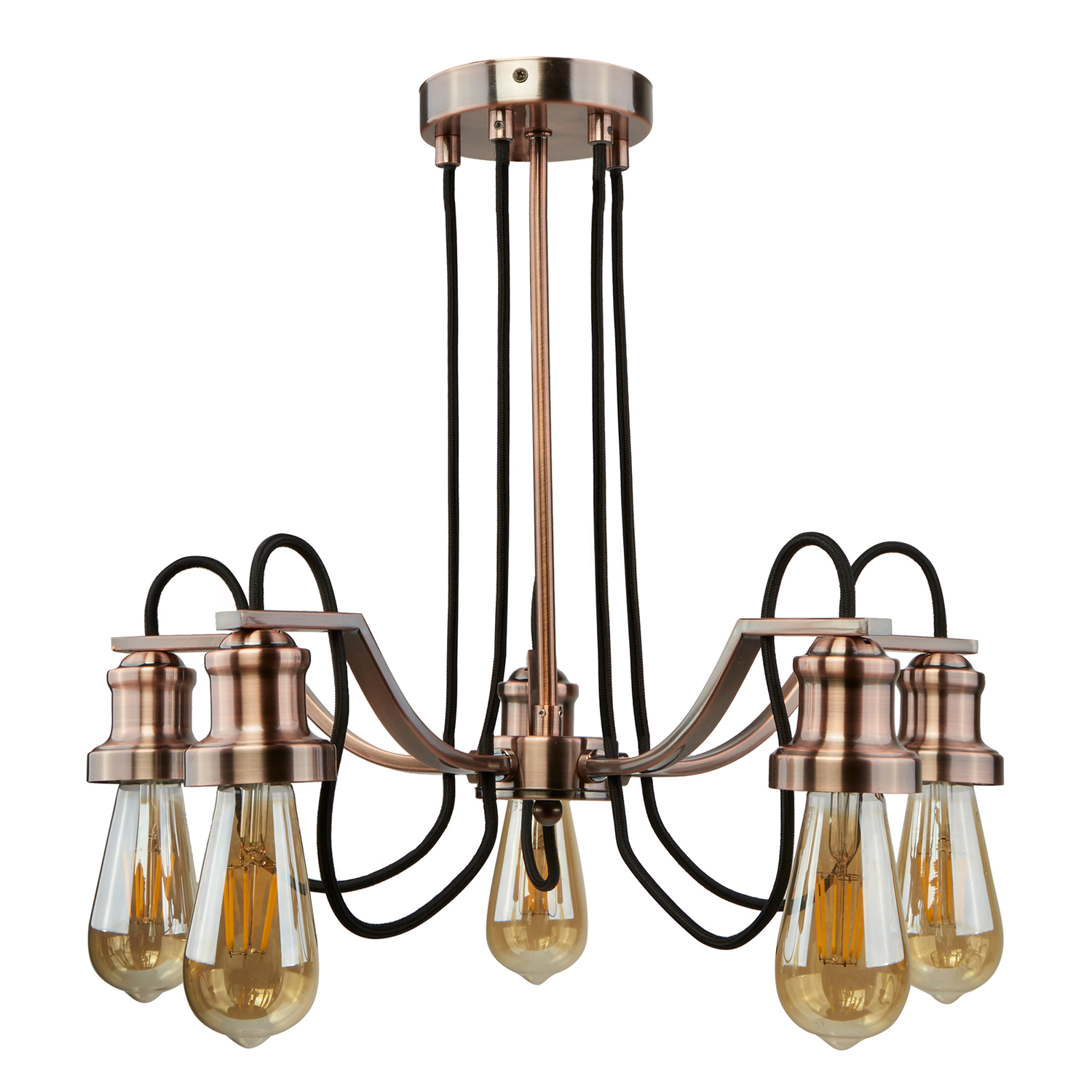 Image of 5 Light Ceiling Braded Fabric, Antique Copper