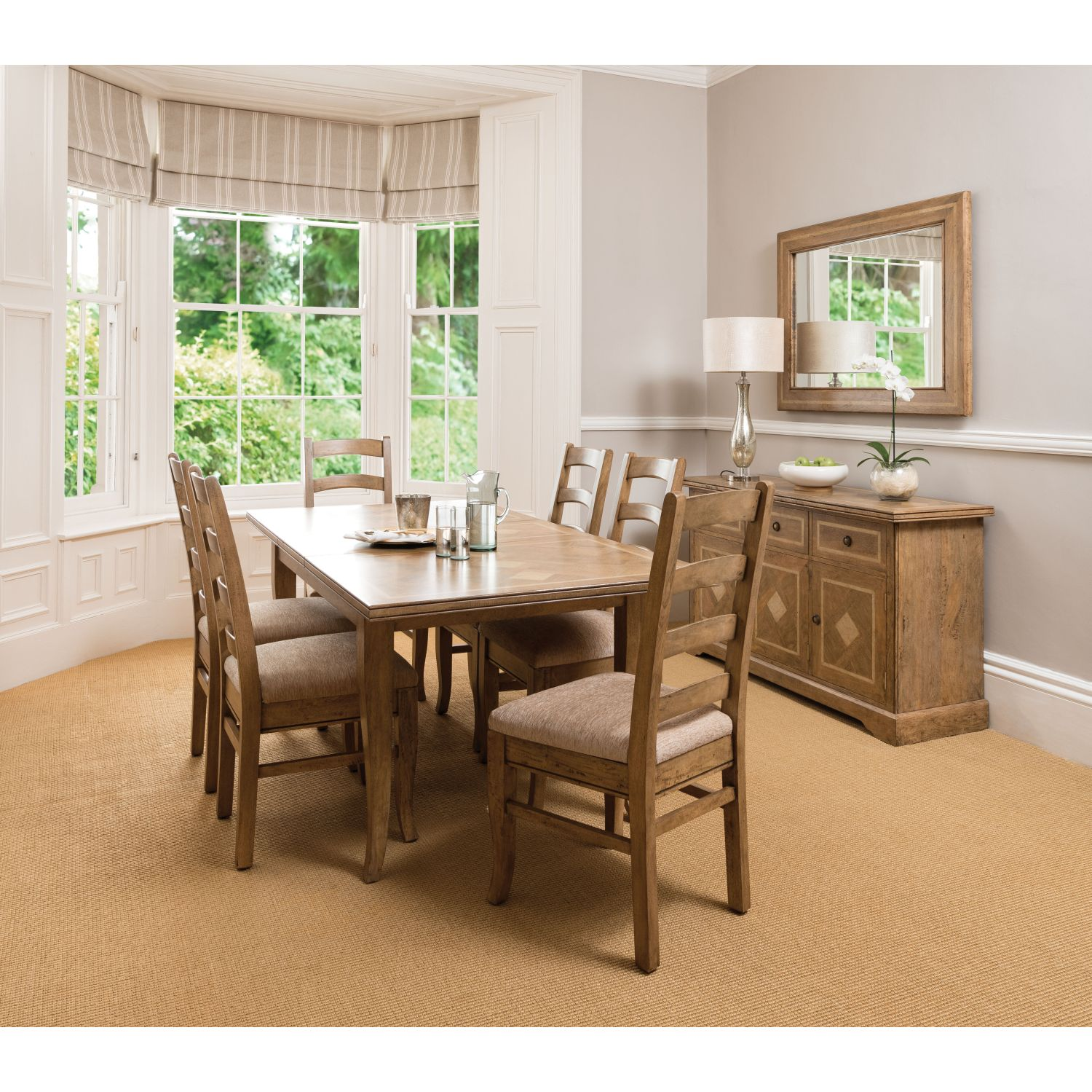 Casa Windrush Medium Tablel & 6 Chairs Dining Chairs