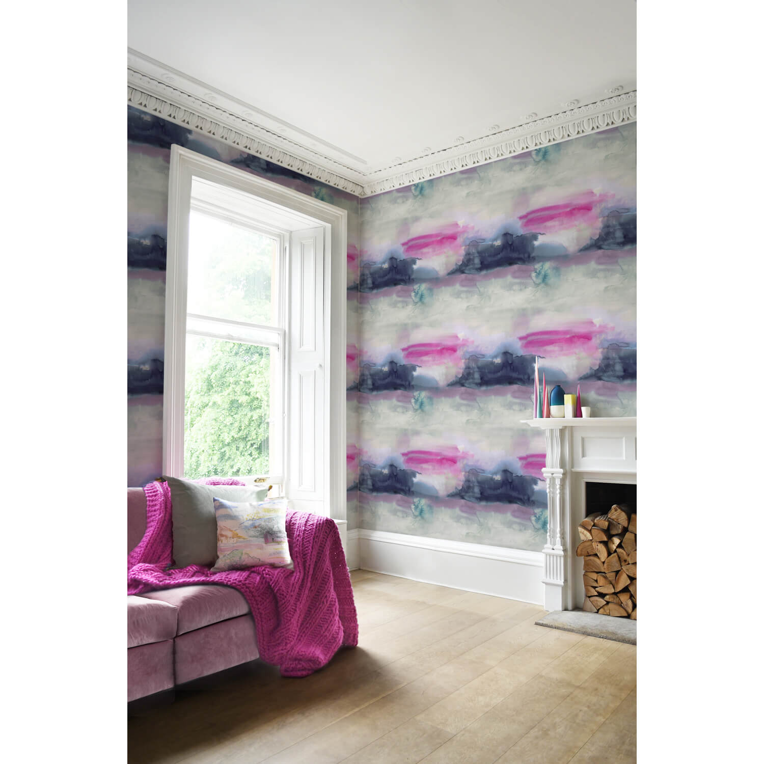 Bluebellgray Lewis Wallpaper, Pink/ Navy
