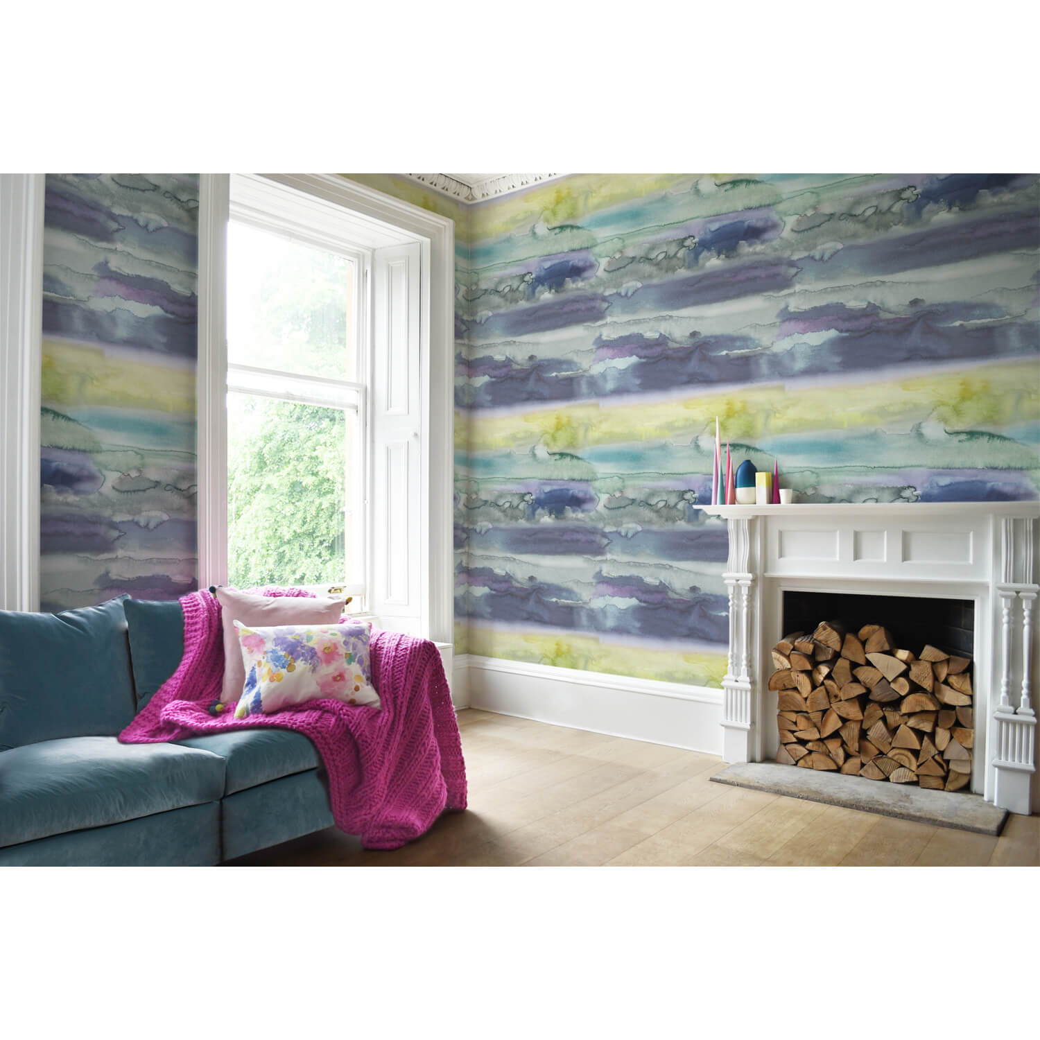 Bluebellgray Morar Wallpaper, Blue/ Yellow
