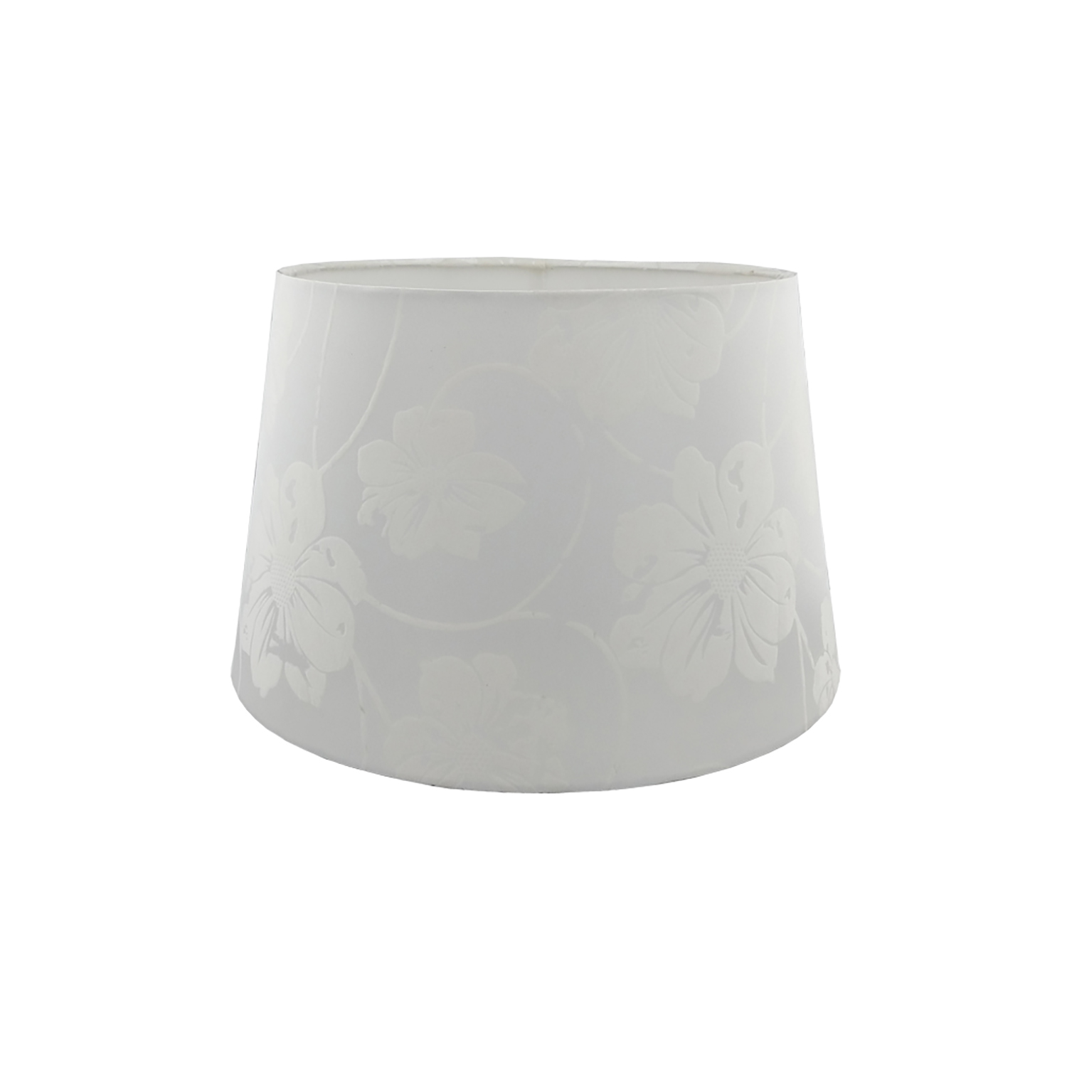 """12"""" Floral Flock Shade, White"""