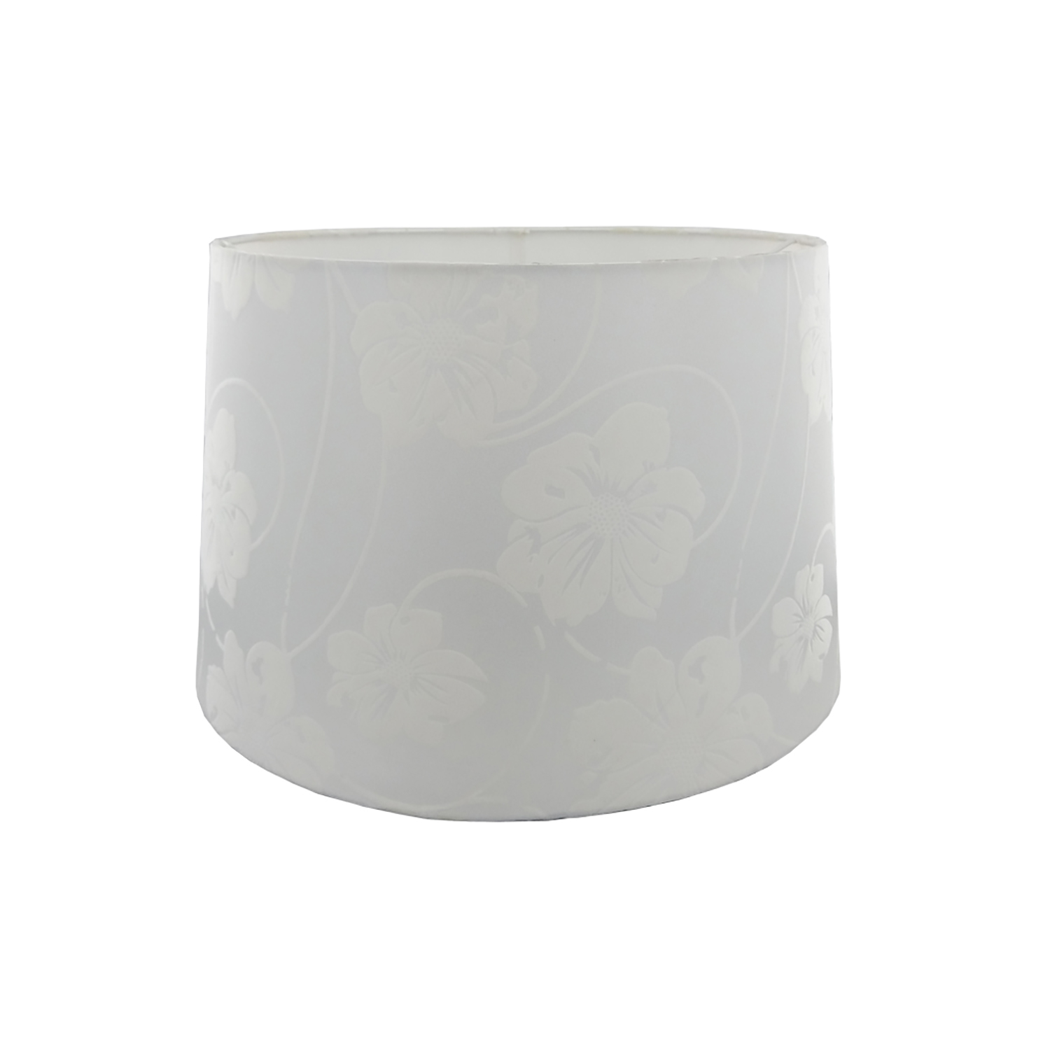 "14"" Floral Flock Shade, White"
