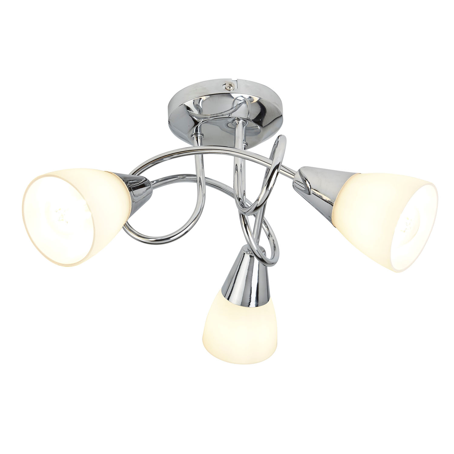 Image of Casa 3 Light Ceiling Light with Shades, Silver