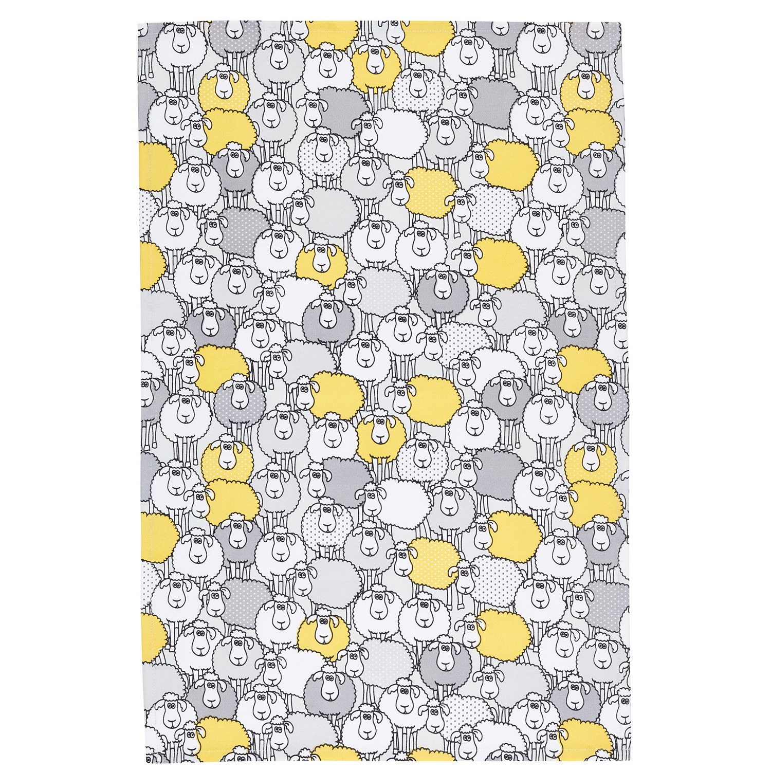 2 Pack Sheep Tea Towels, Yellow/Grey