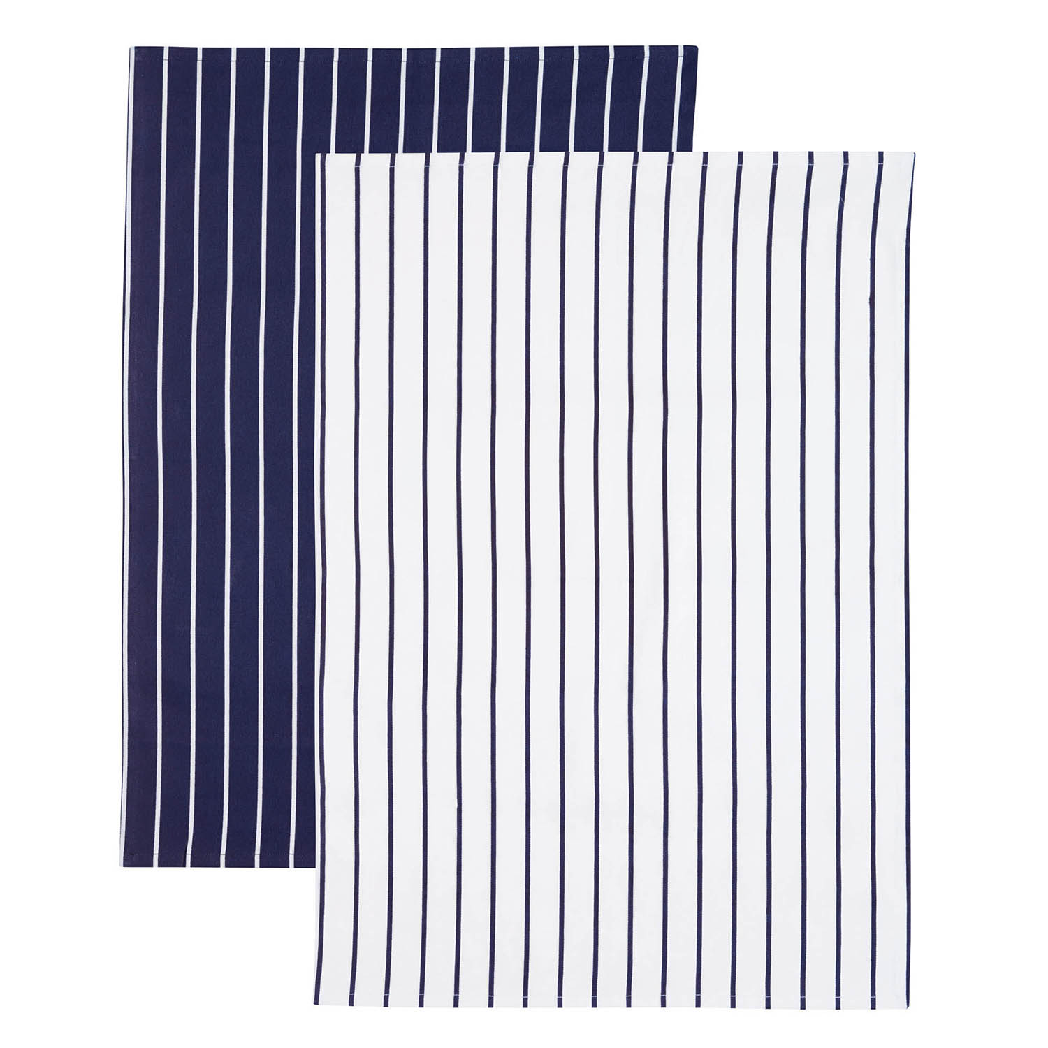 Image of 2 Pack Blue Stripe Tea Towels, Navy/White