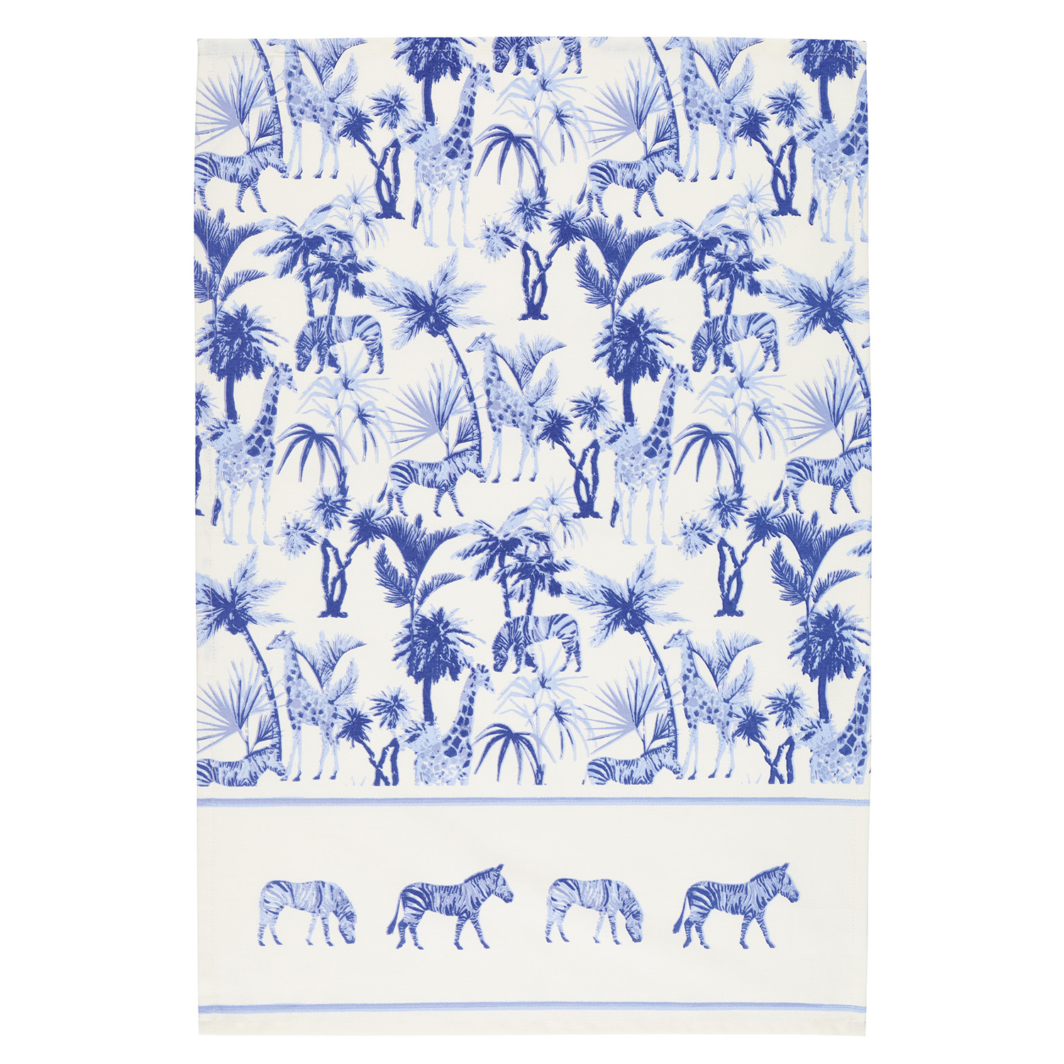 2 Pack Safari Tea Towels, Blue/White