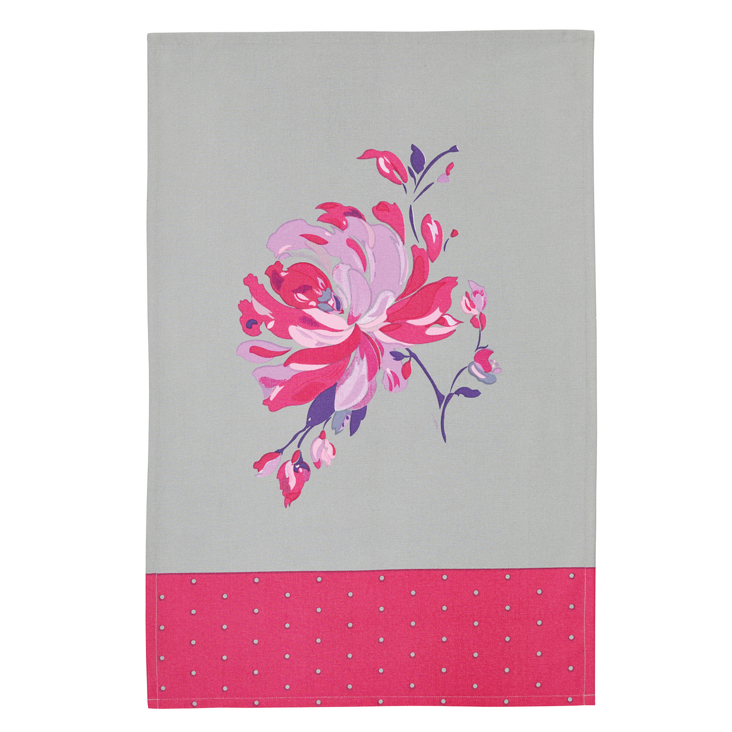 2 Pack Flower Tea Towels, Pink/Grey