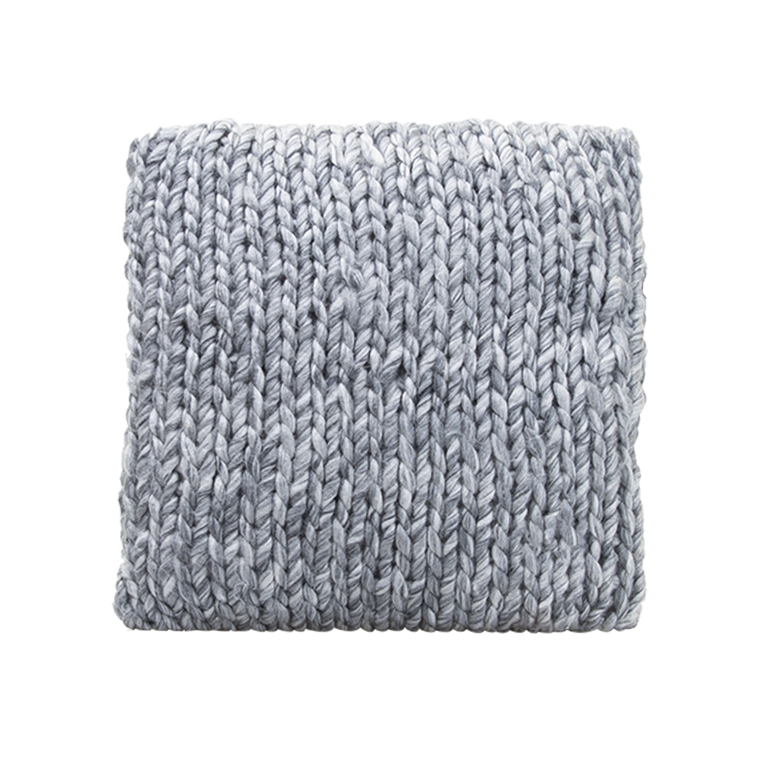 Image of Casa Herring Bone Knit Cushion, Grey Melange