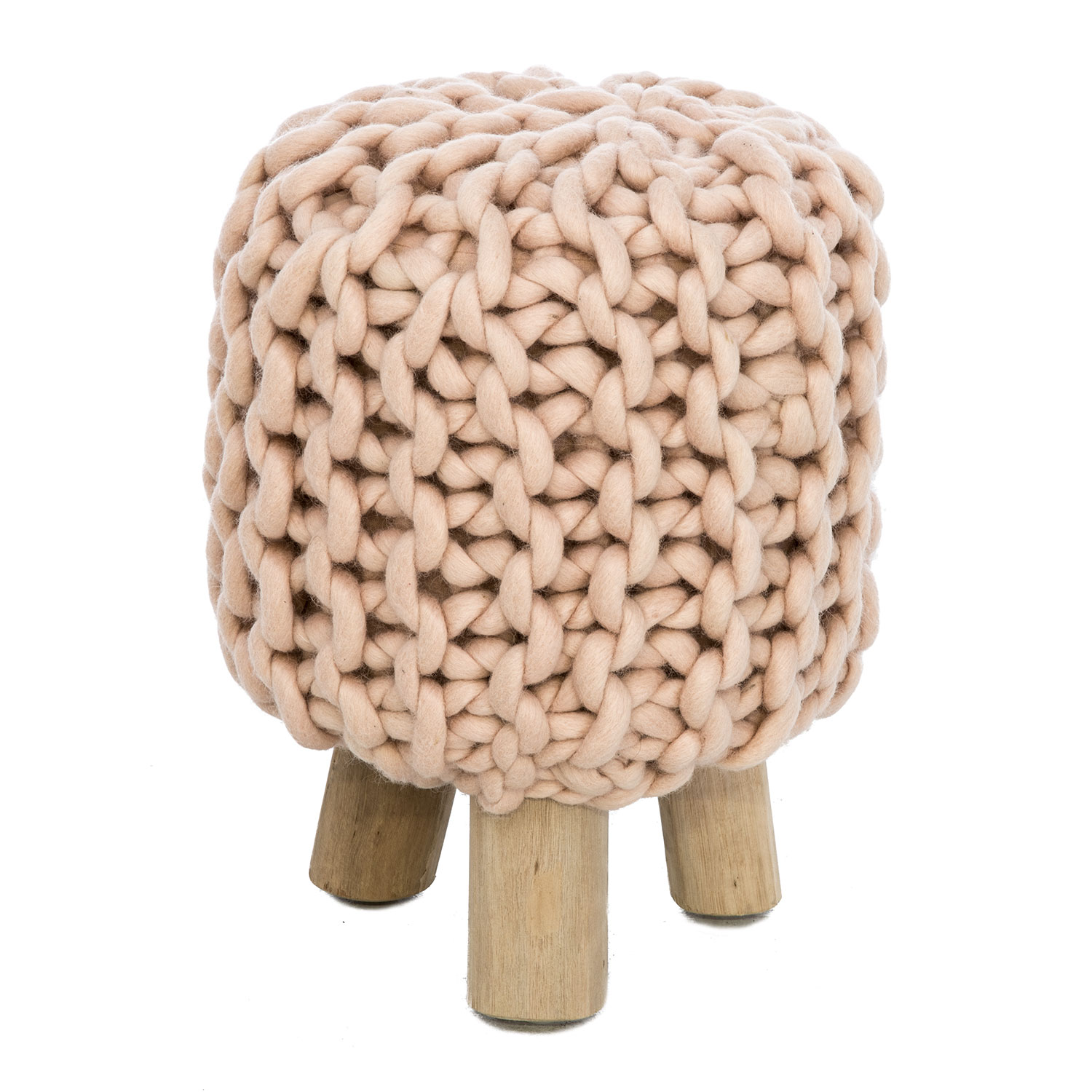 Image of Casa Wooden Knitted Wool Stool, Pink