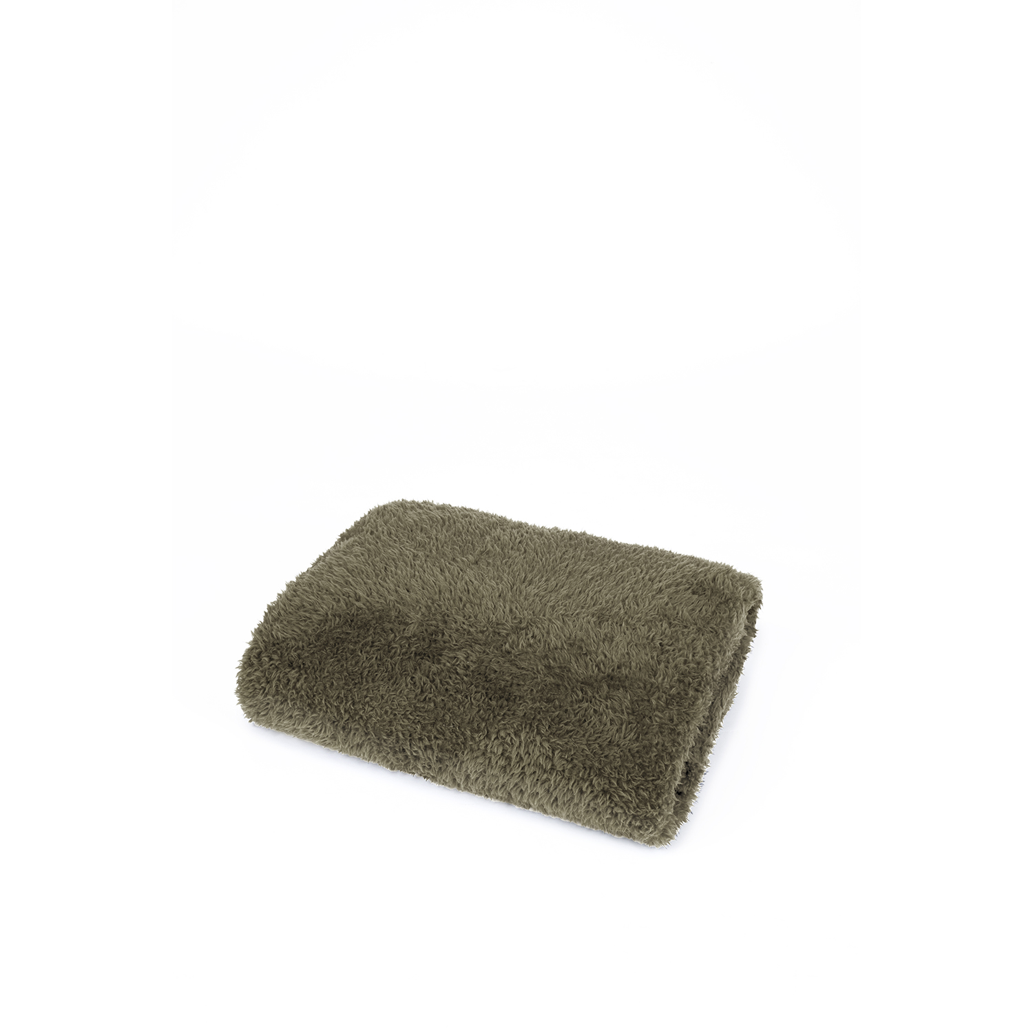 Image of Mistral Solid Green Sherpa Throw, Green