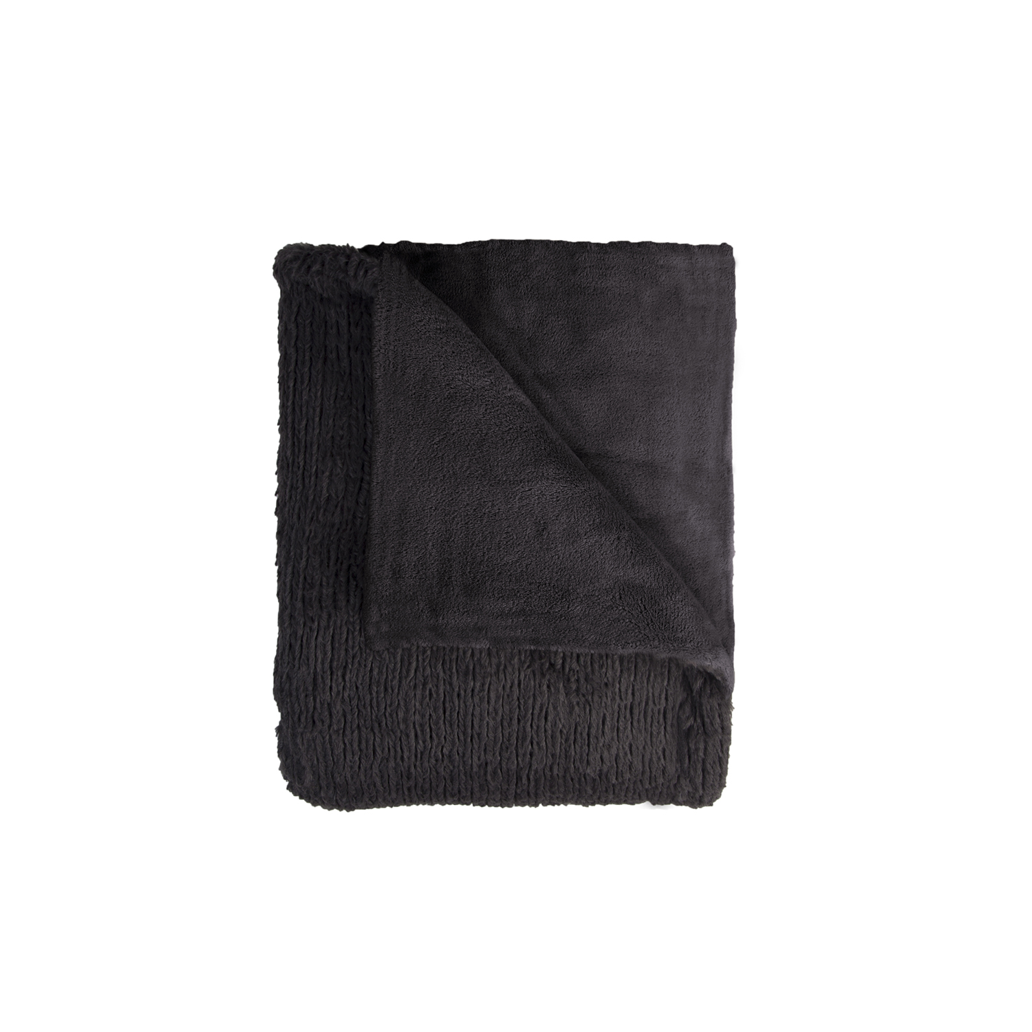 Image of Mistral Pullover Black Fuzzy Throw, Black