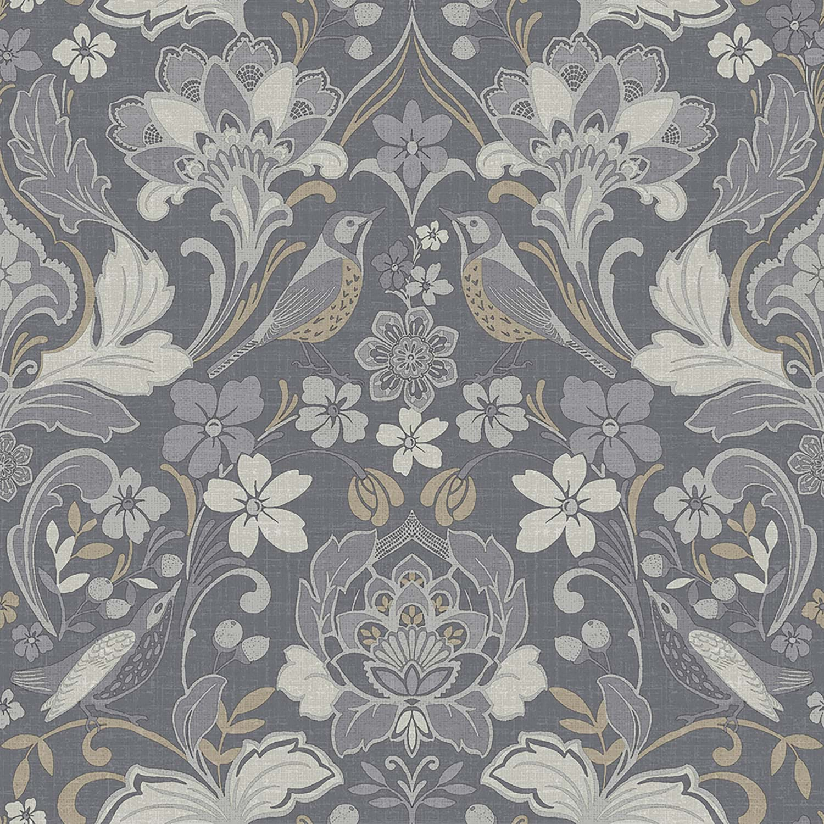 Image of Arthouse Folk Floral Wallpaper, Grey