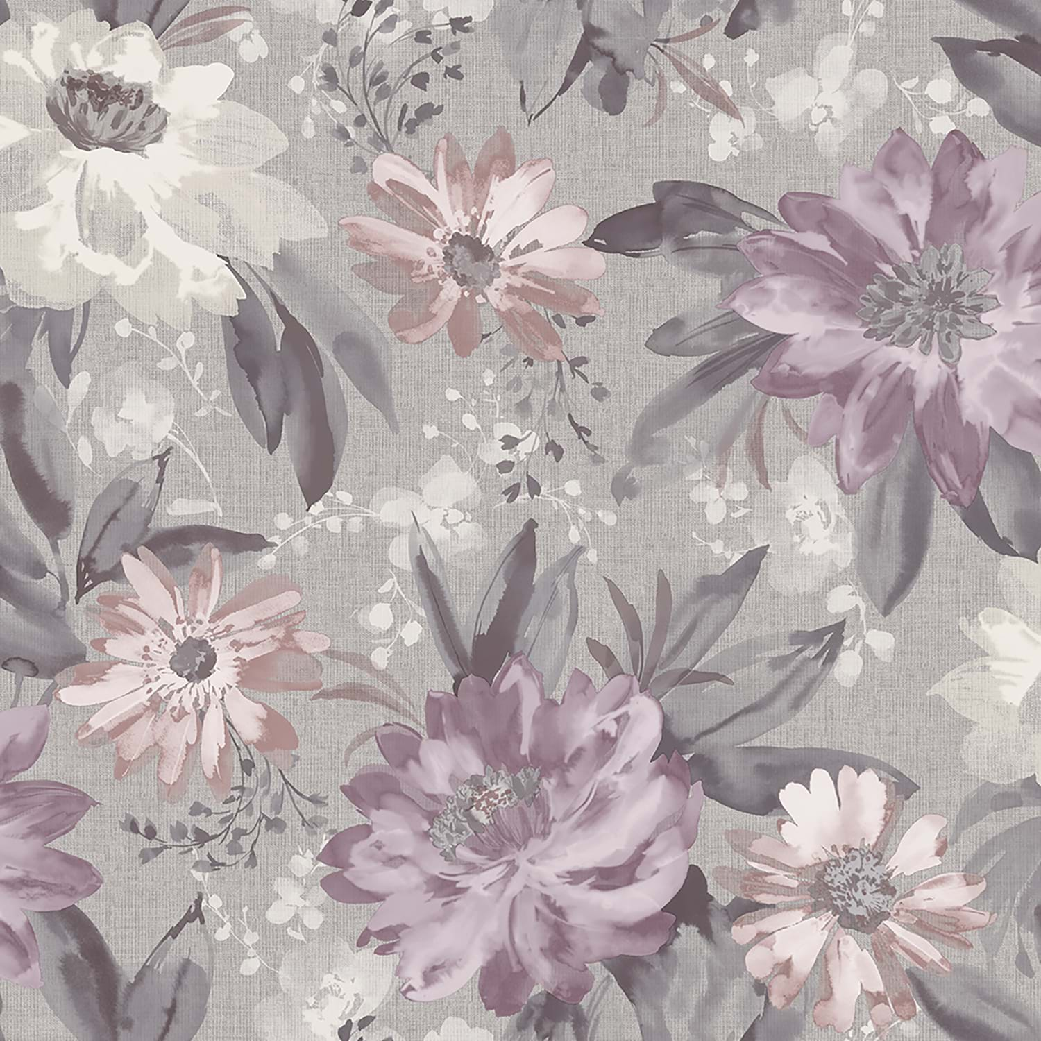 Image of Arthouse Painted Dahlia Wallpaper, Heather