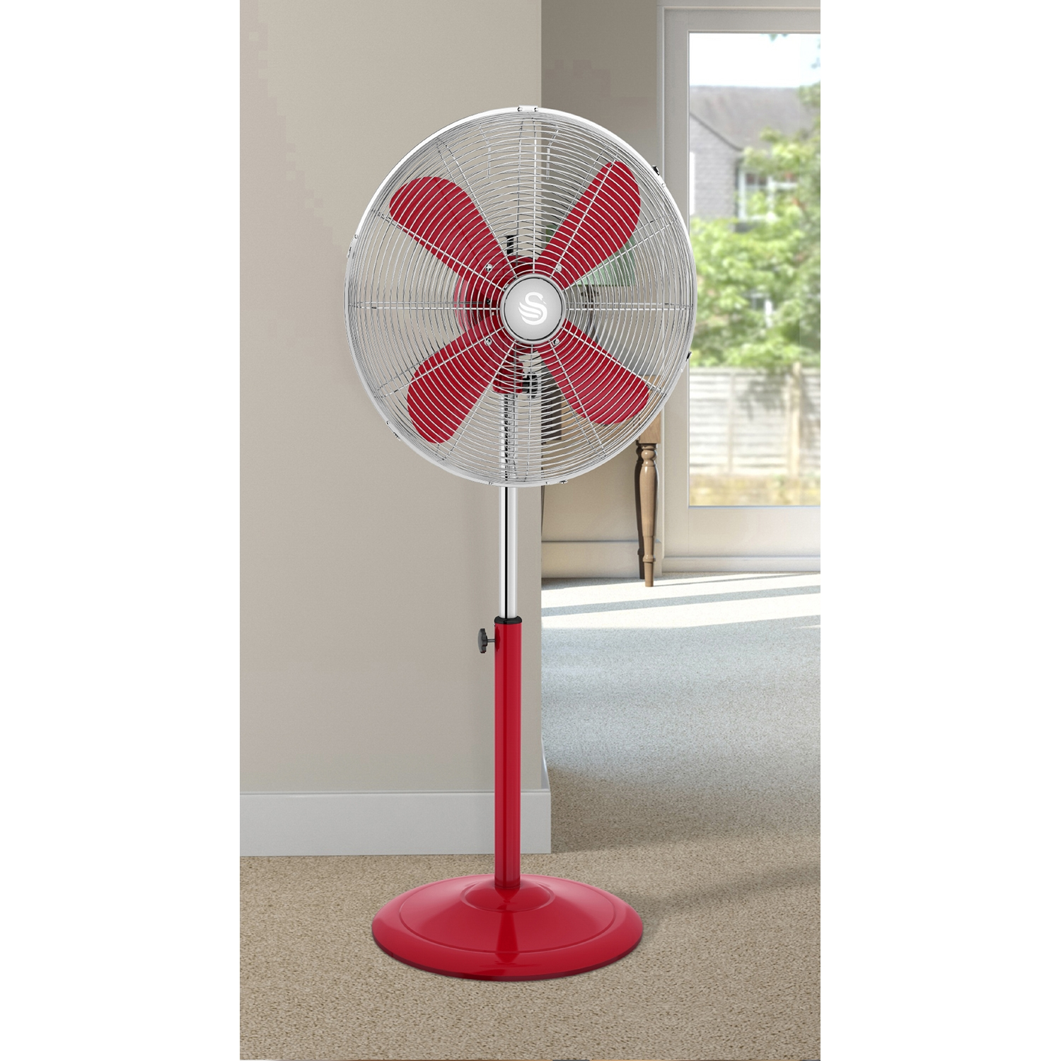 """Image of Swan 16"""" Retro Stand Fan, Red"""