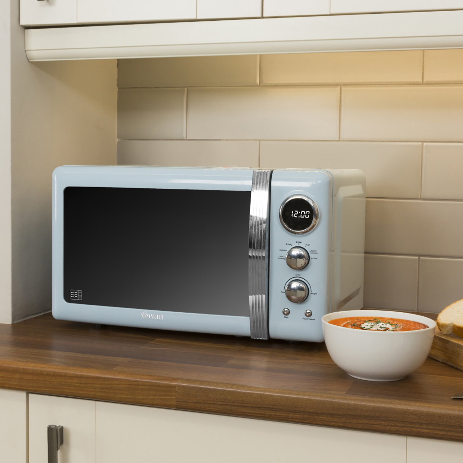 Image of Swan Retro Digital Microwave 20 Litre, Blue
