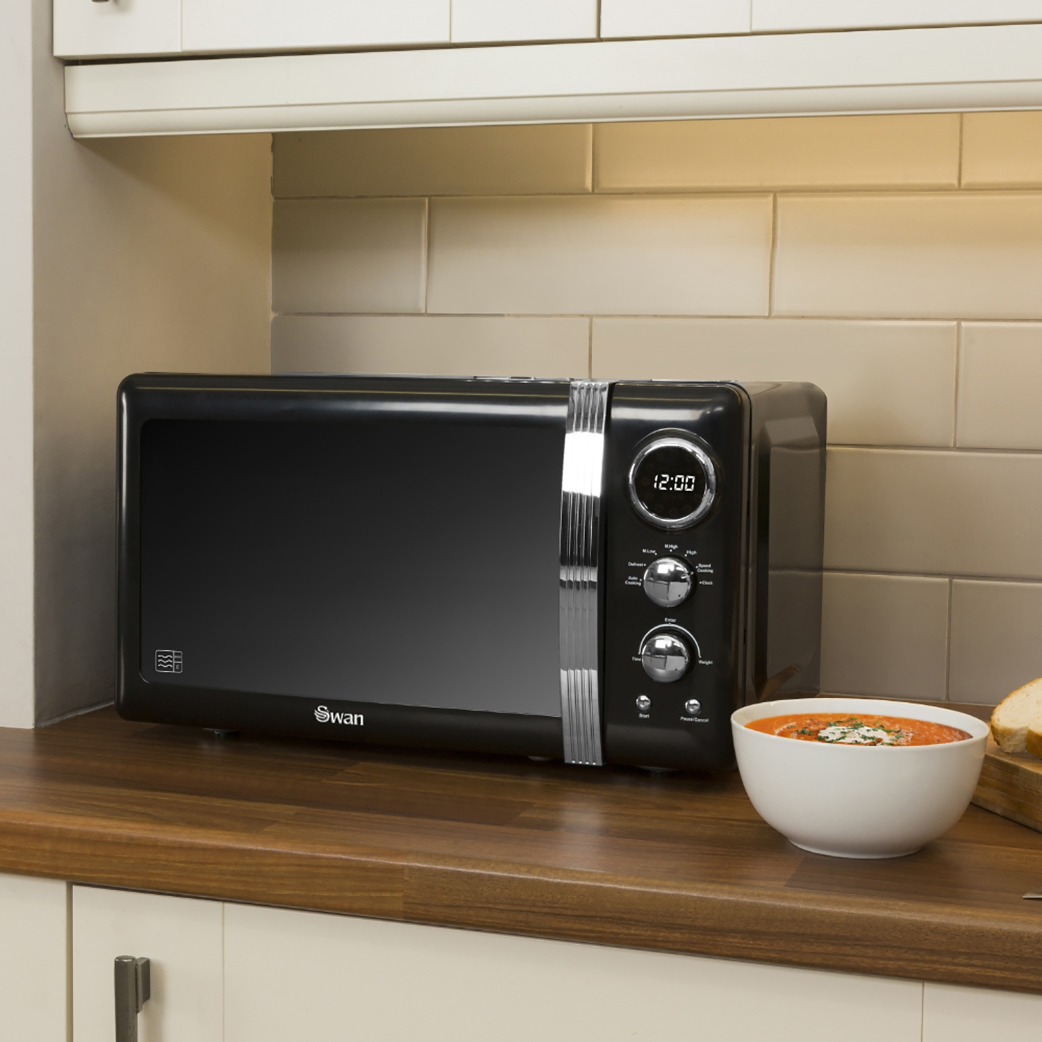 Image of Swan Retro Digital Microwave 20 Litre, Black
