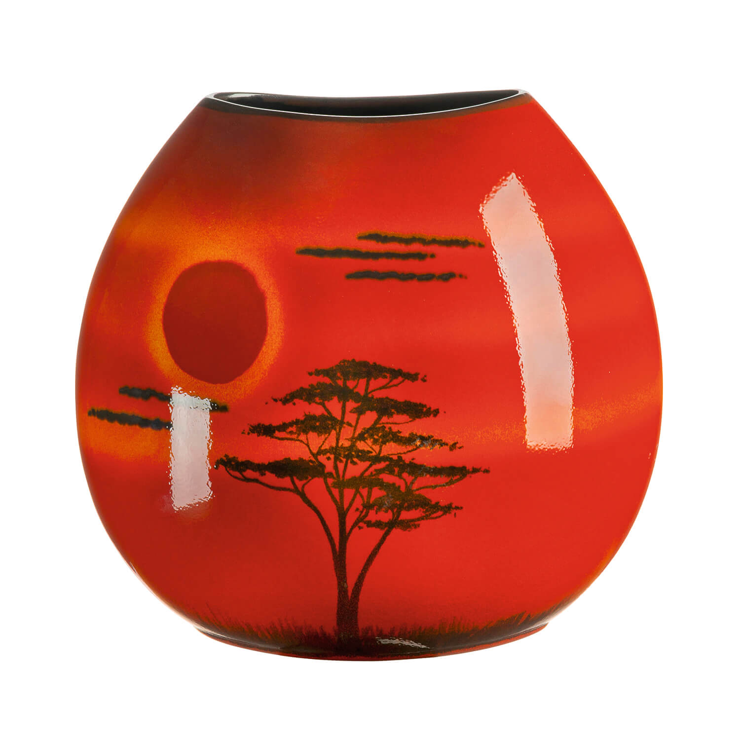 Image of Poole Pottery African Sky 26cm Purse, Red