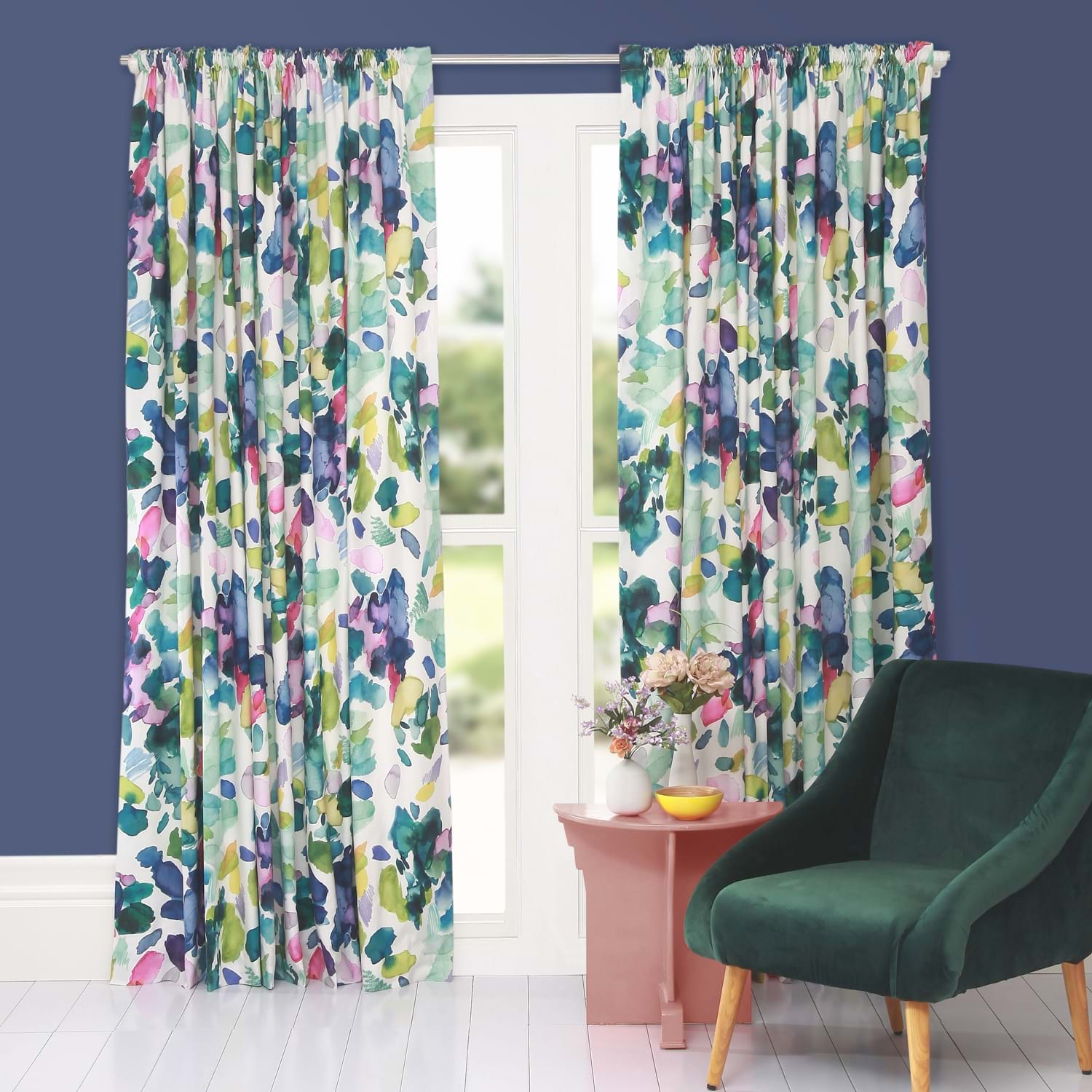 Image of Bluebellgray Palette Curtains 167 x 182cm, Multicoloured