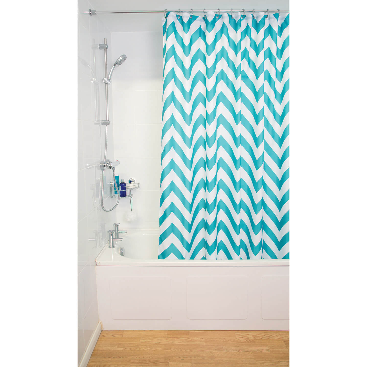 Croydex Chevron Shower Curtain Aqua White
