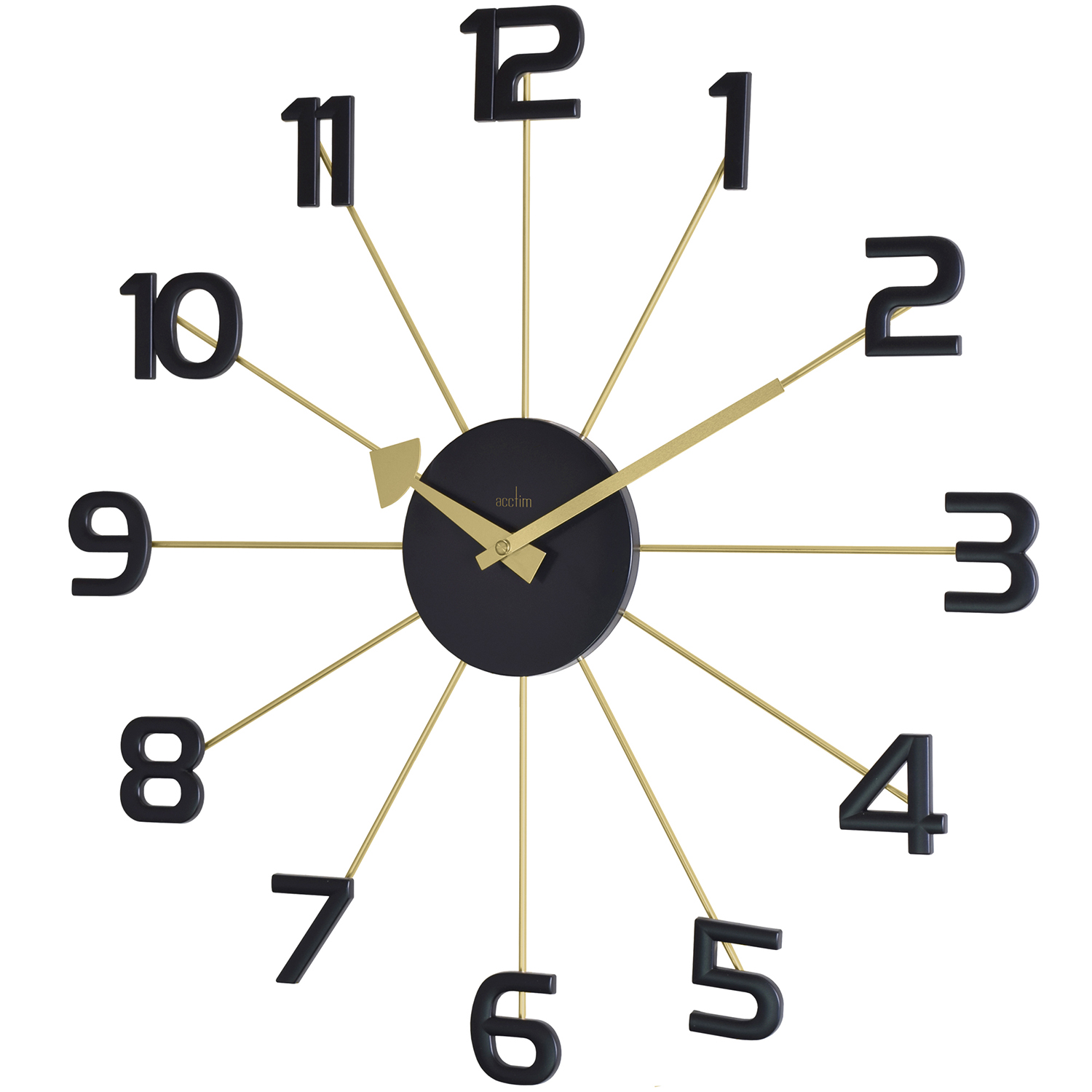 Image of Acctim Astraea Spoke Wall Clock, Black & Gold Effect