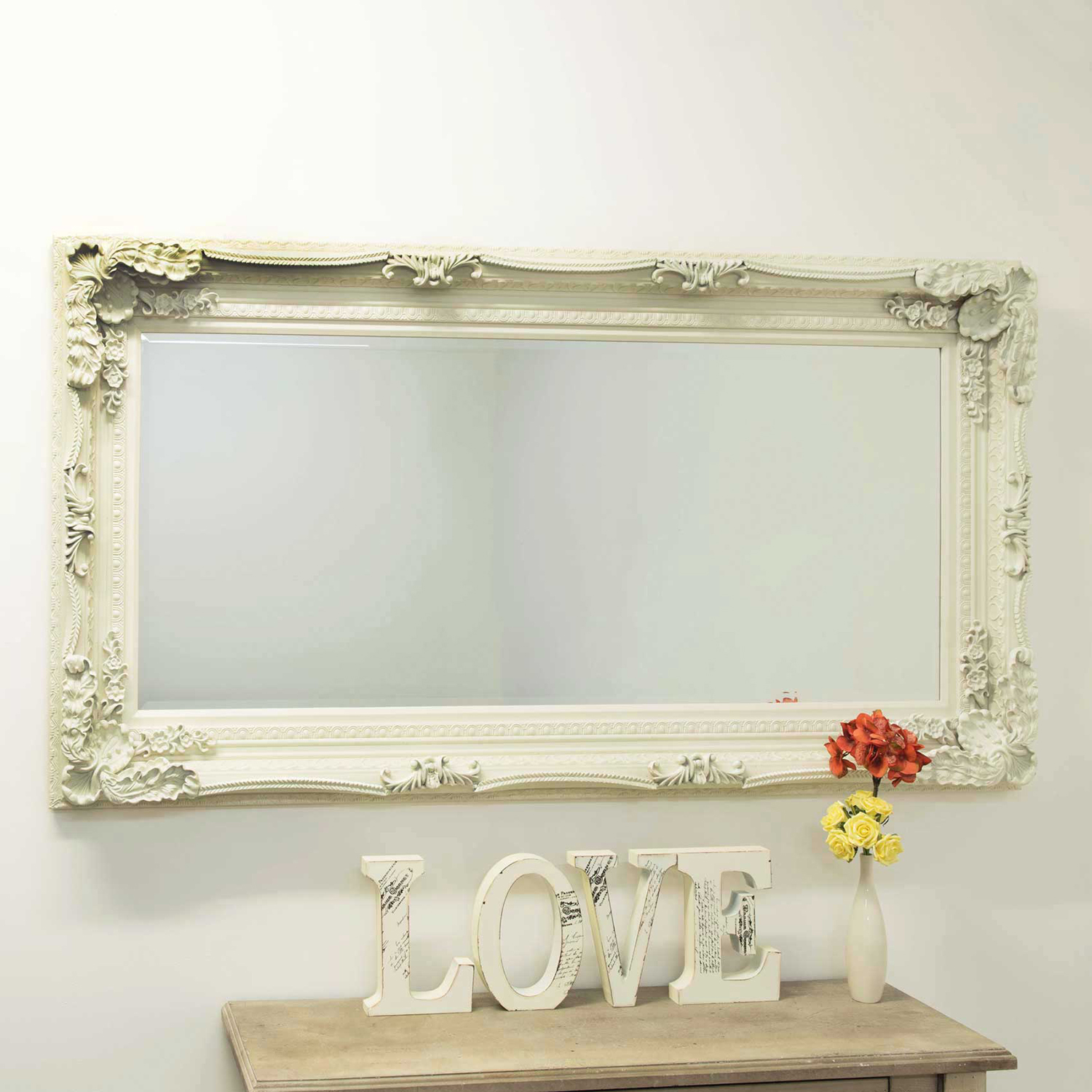 Image of Mirror Outlet Carved Louis Mirror, Ivory