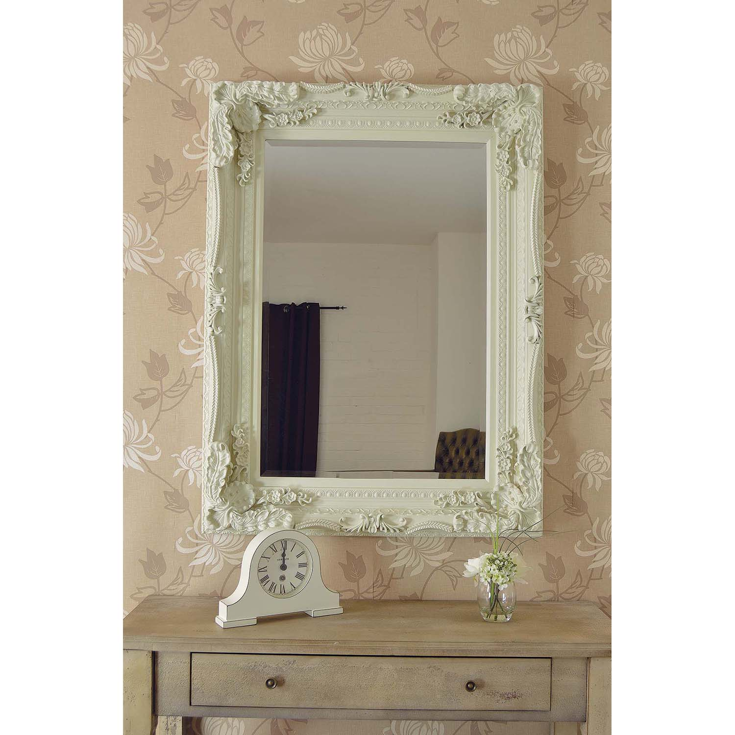 Image of Mirror Outlet Carved Louis Mirror, Cream