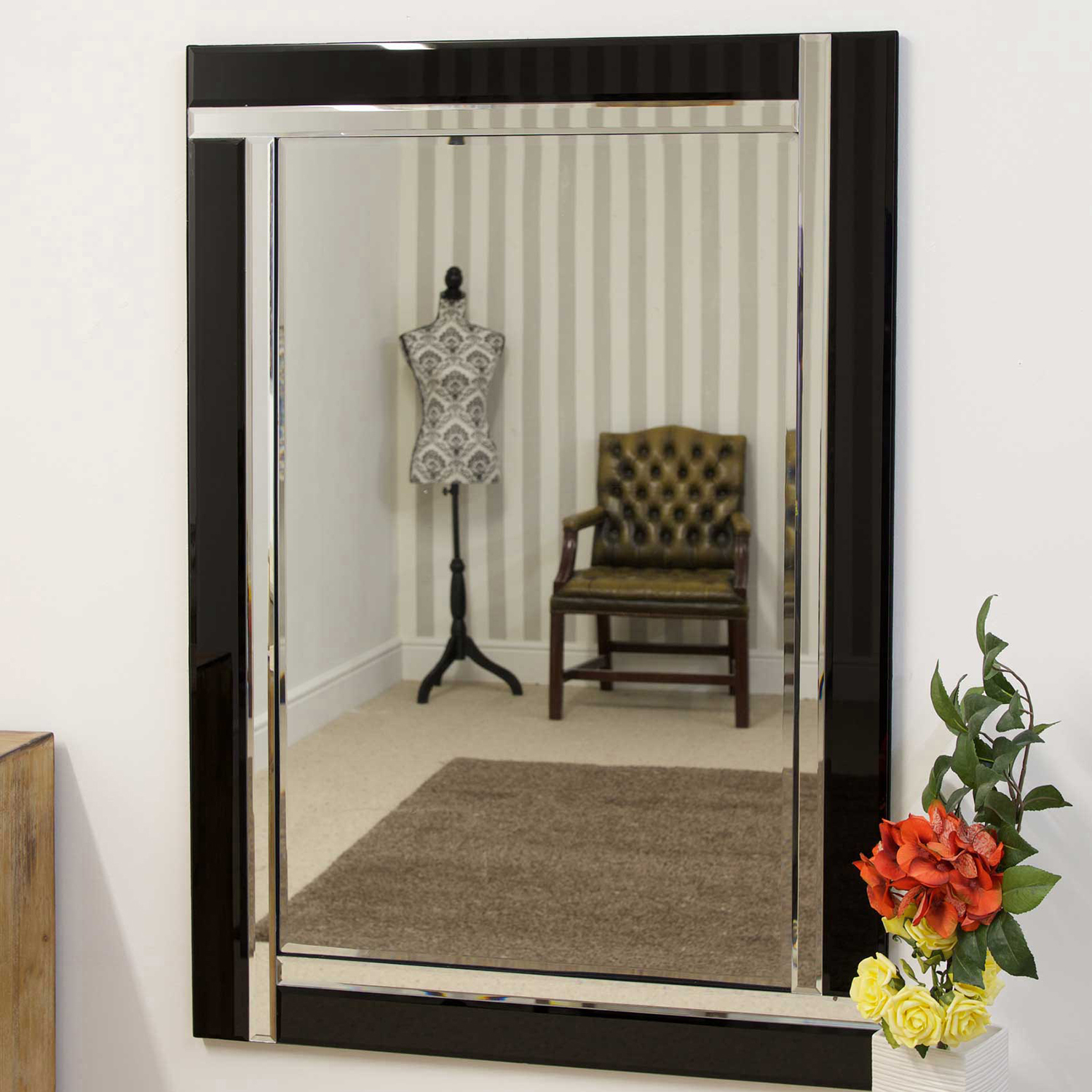 Image of Mirror Outlet Aston Black All Glass Mirror