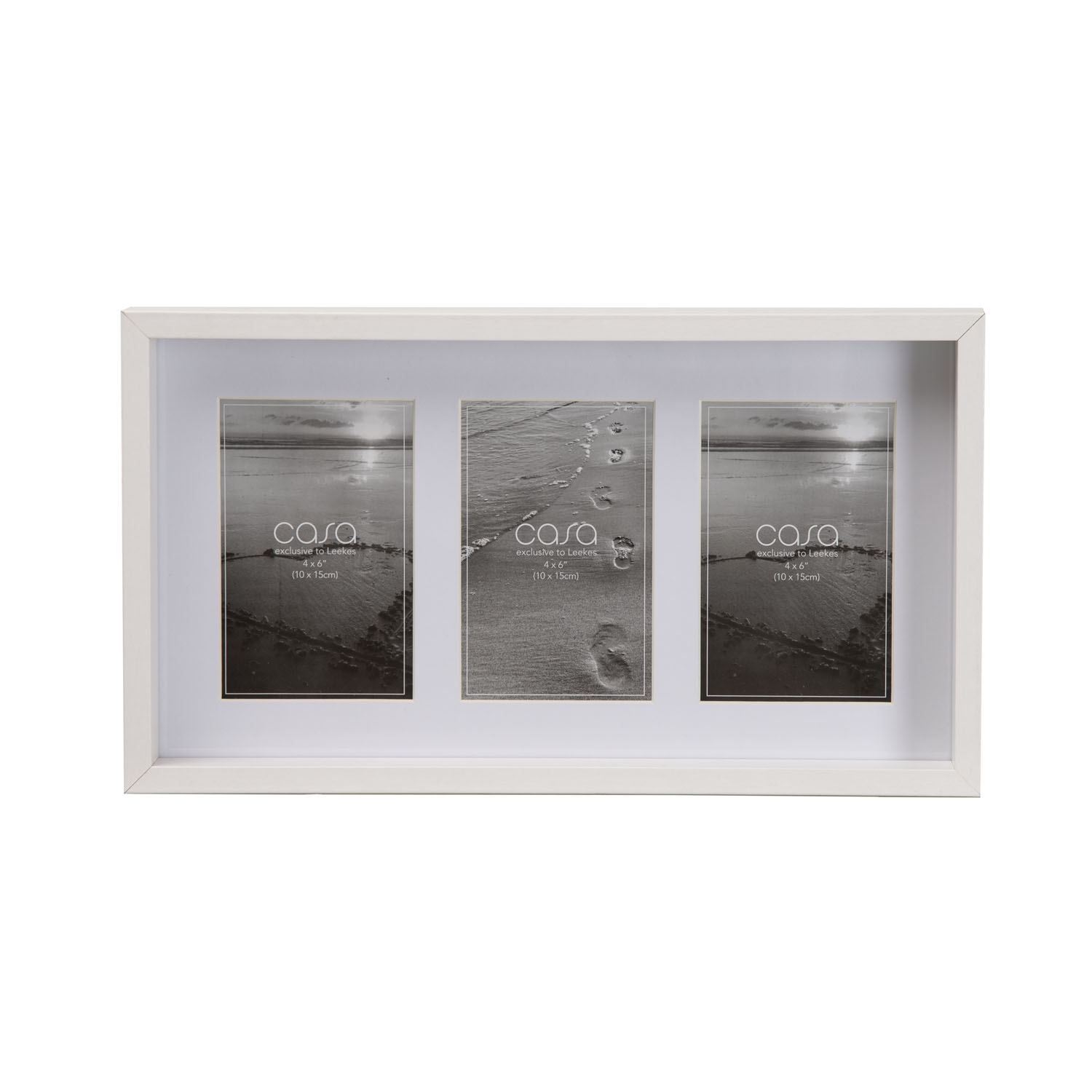 "Image of Casa Deep Photo Frame 3 Aperture, 4"" x 6"" (10 x 15cm), White"