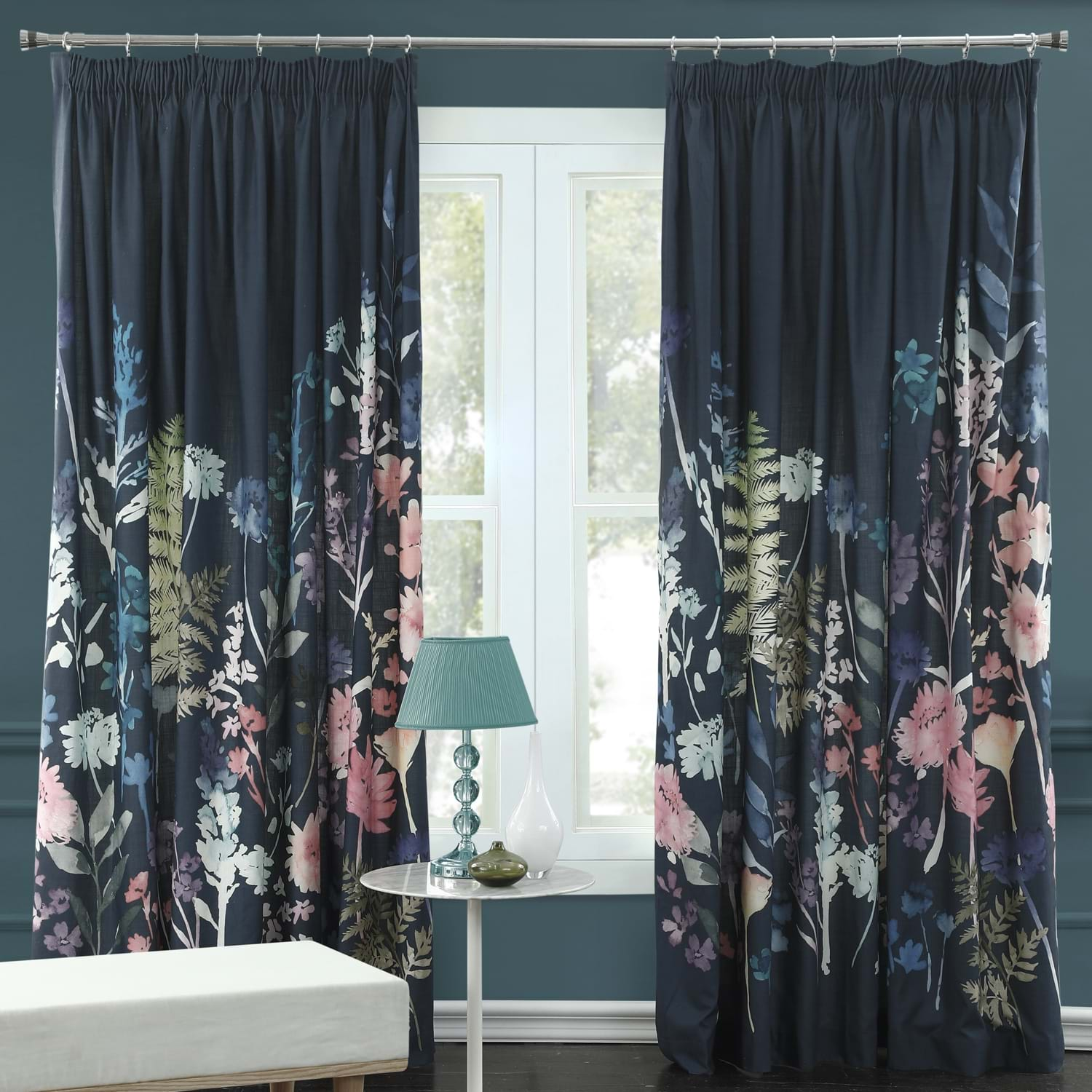 Image of Bluebellgray Peggy Midnight Curtains 167 x 137cm, Blue