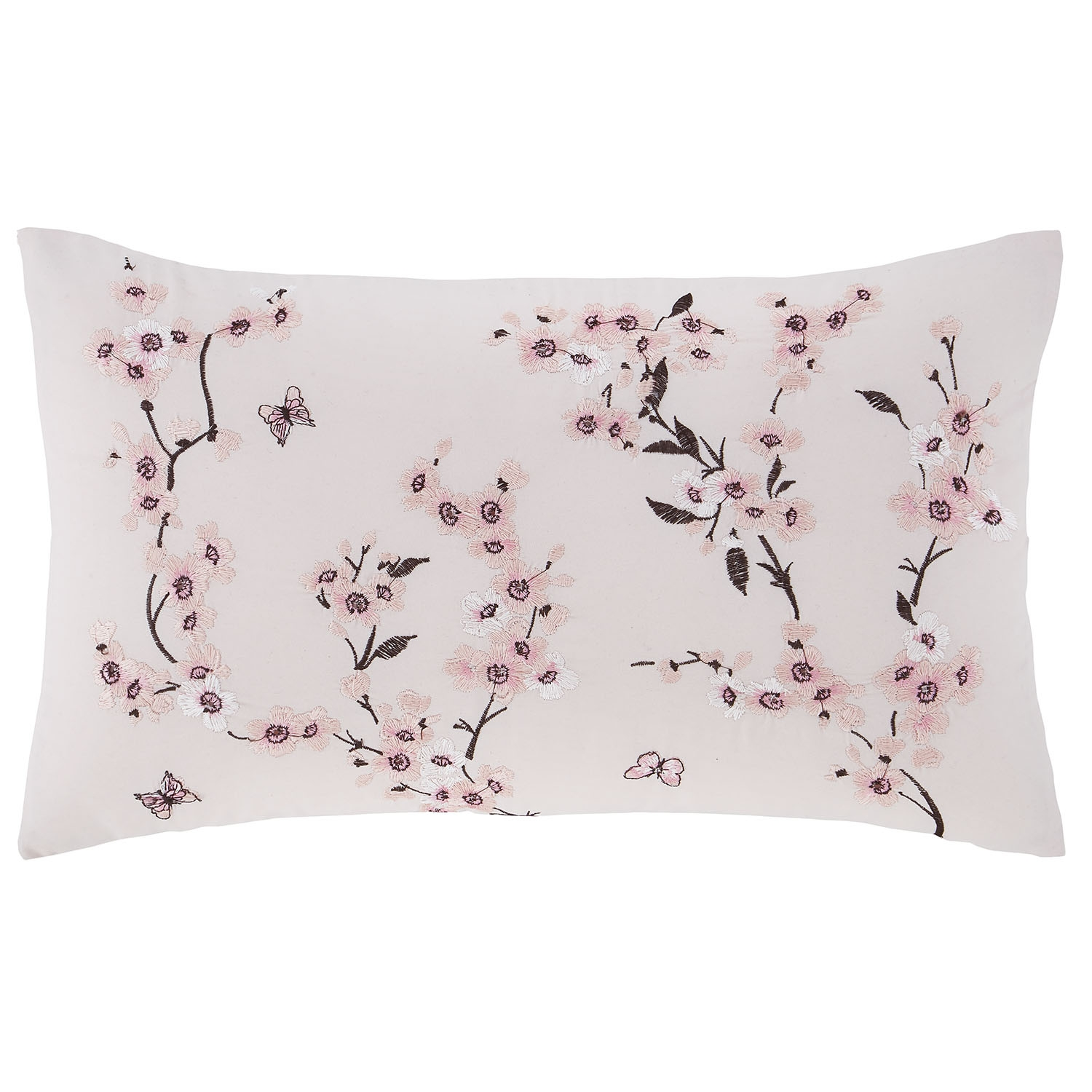 Image of Catherine Lansfield Embroidered Blossom Cushion, 30cm x 50cm, Pink