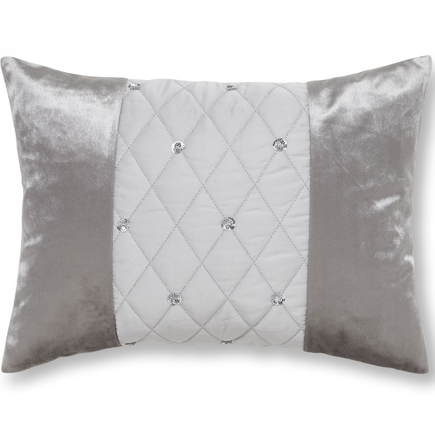 Image of Catherine Lansfield Sequin Cluster Cushion, 40cm x 30cm, Silver