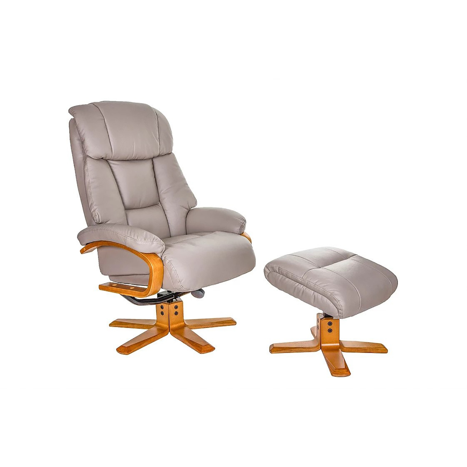 Image of Casa Bruges Faux Leather Recliner & Footstool, Pebble
