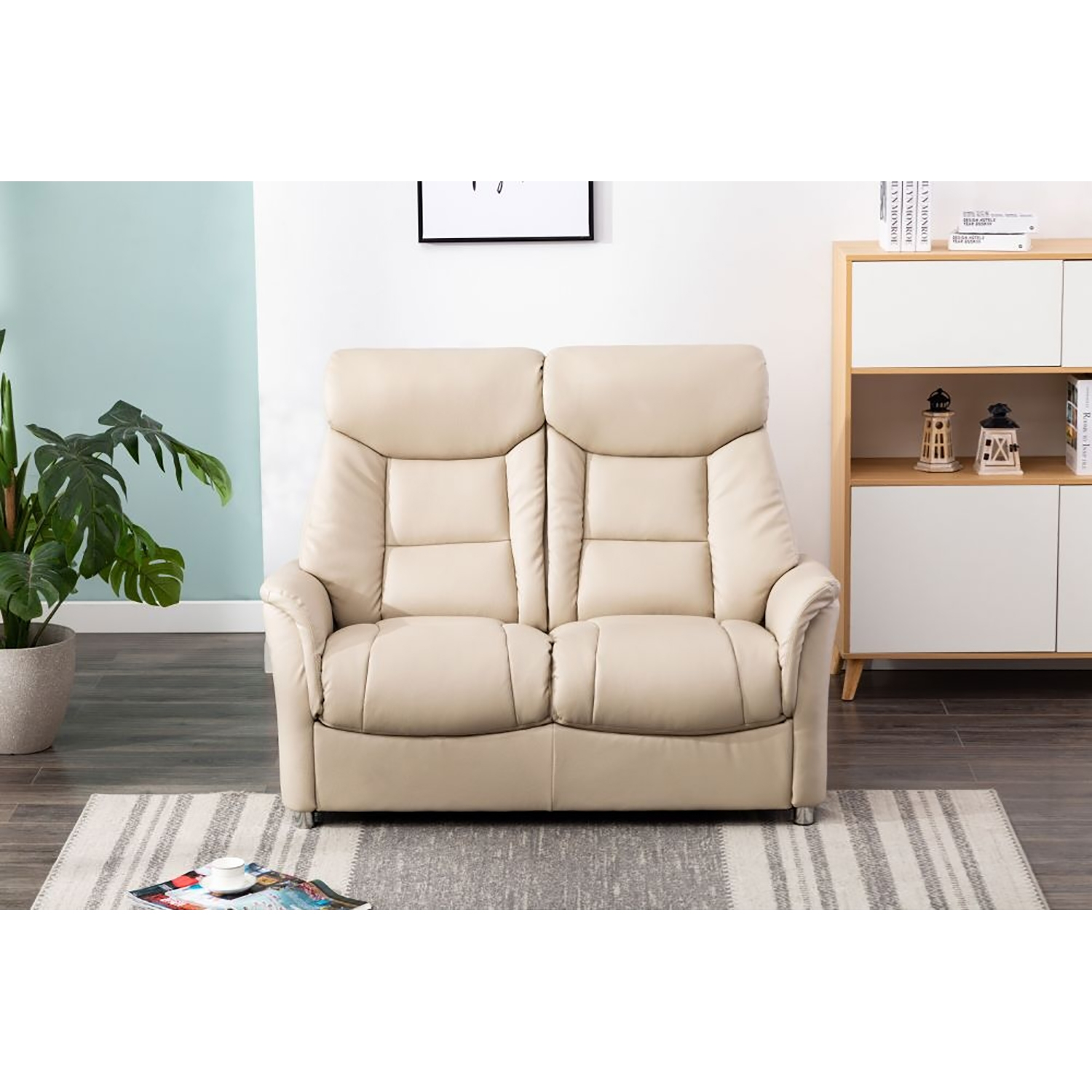 Image of Casa Bayonne Leather Look 2 Seater Sofa