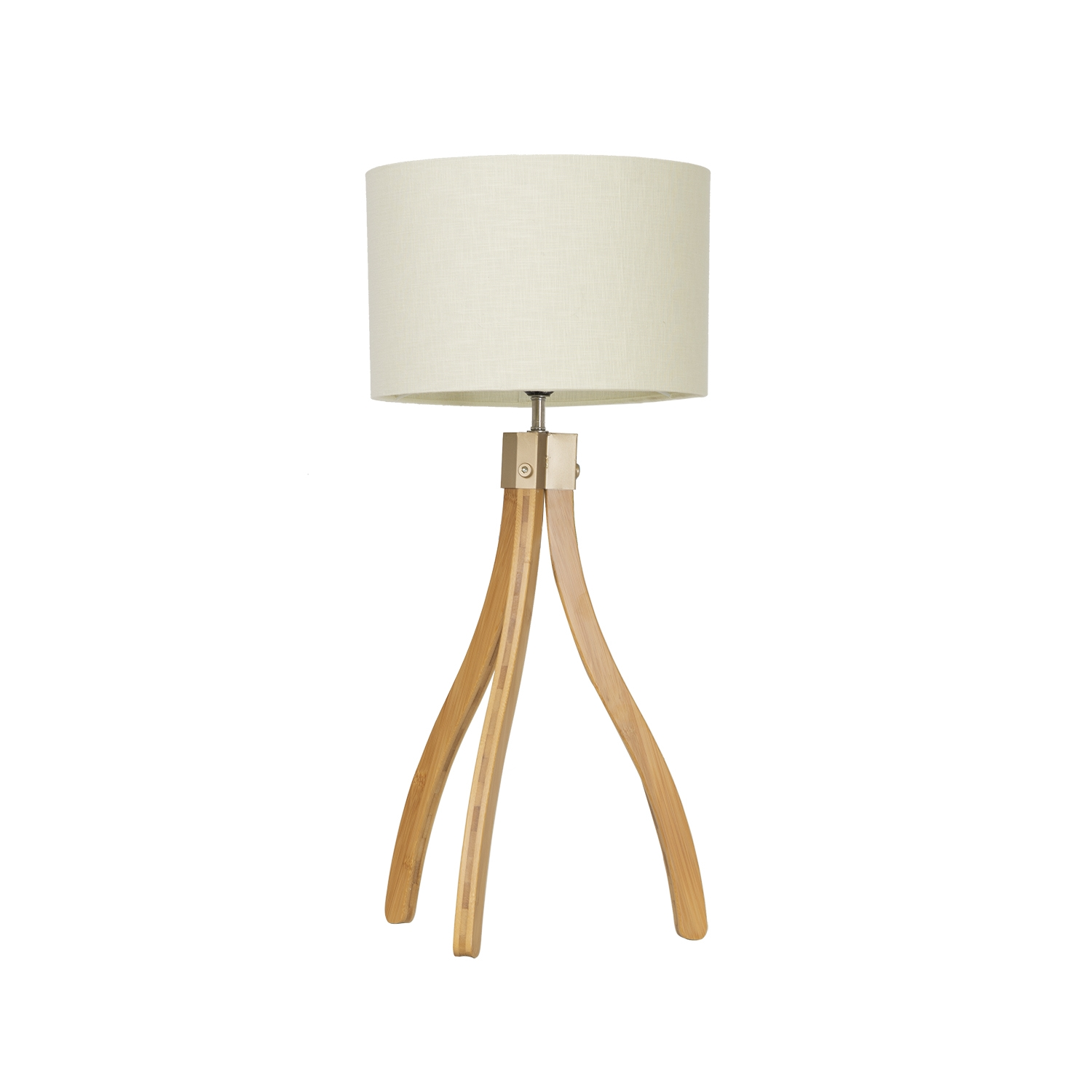 Image of Casa Curved Tripod Table Lamp, Natural Wood