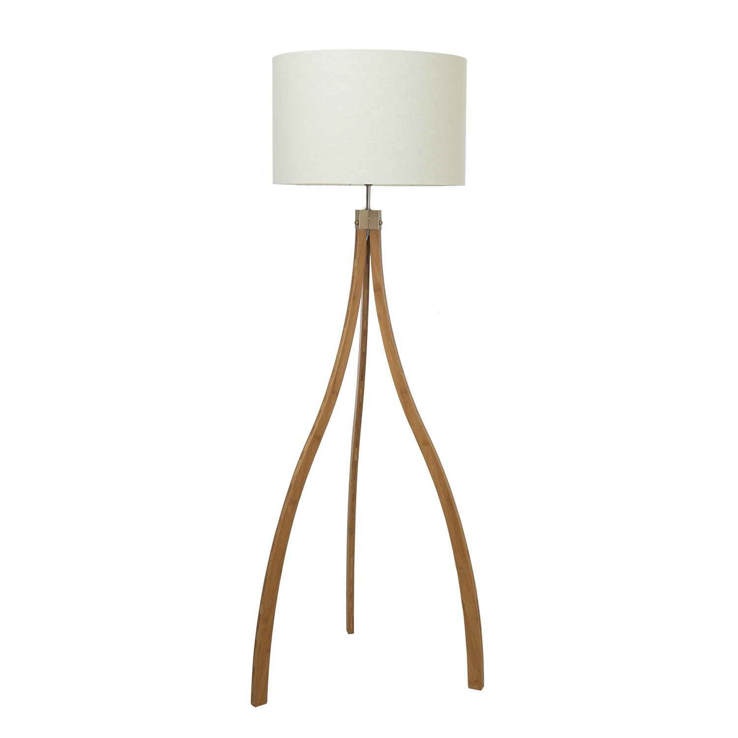 Image of Casa Curved Tripod Floor Lamp, Natural Wood