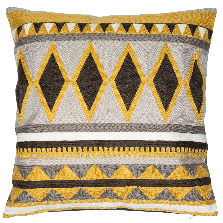 Image of Malini Djembe Cushion, 45cm x 45cm, Grey and Yellow