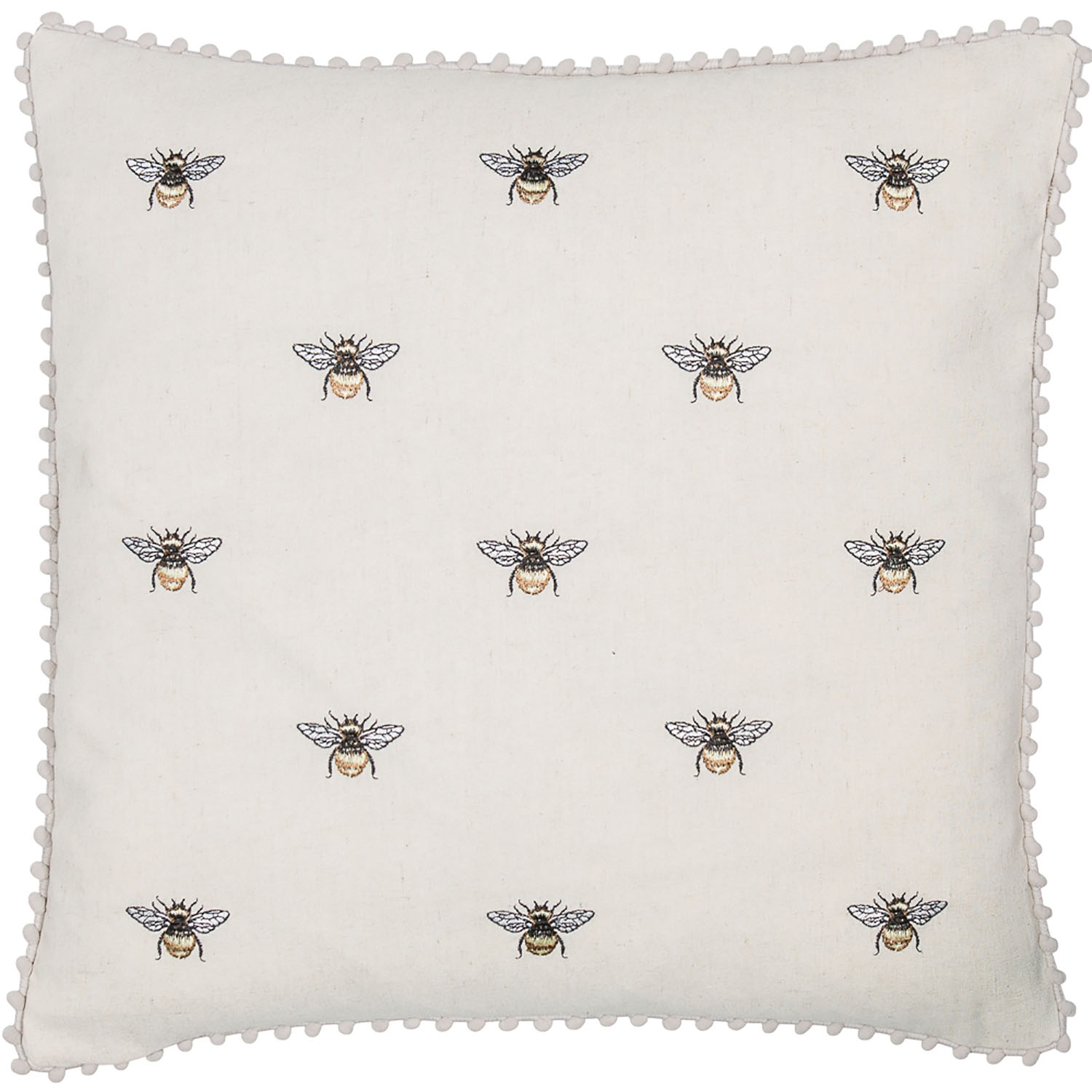 Image of Malini Embroidered Bees and Pom Pom Cushion, 45cm x 45cm, Natural
