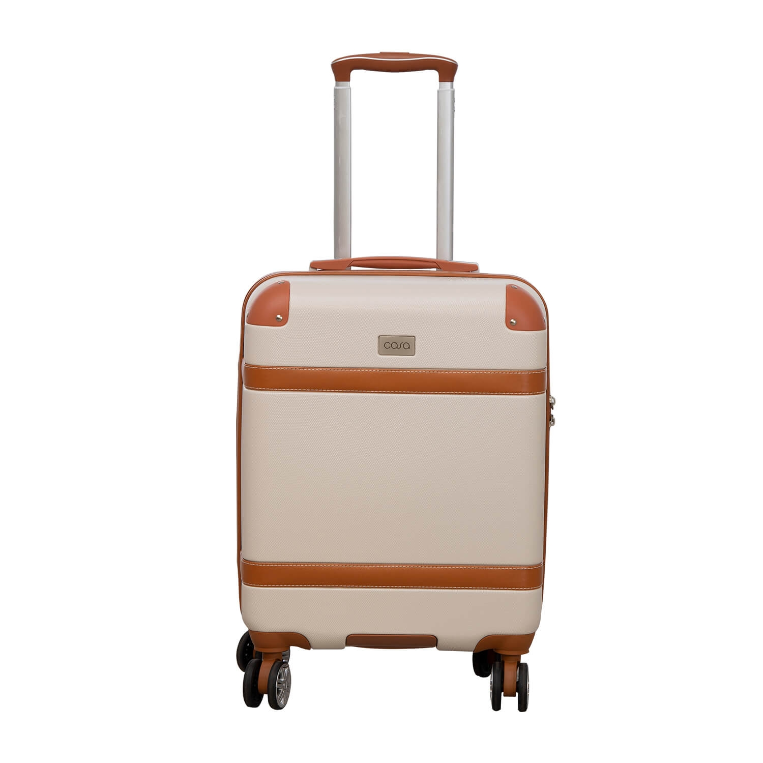 Image of Casa Contrast Banded Hard 34cm x 19cm x 53cm Suitcase, Cream And Tan