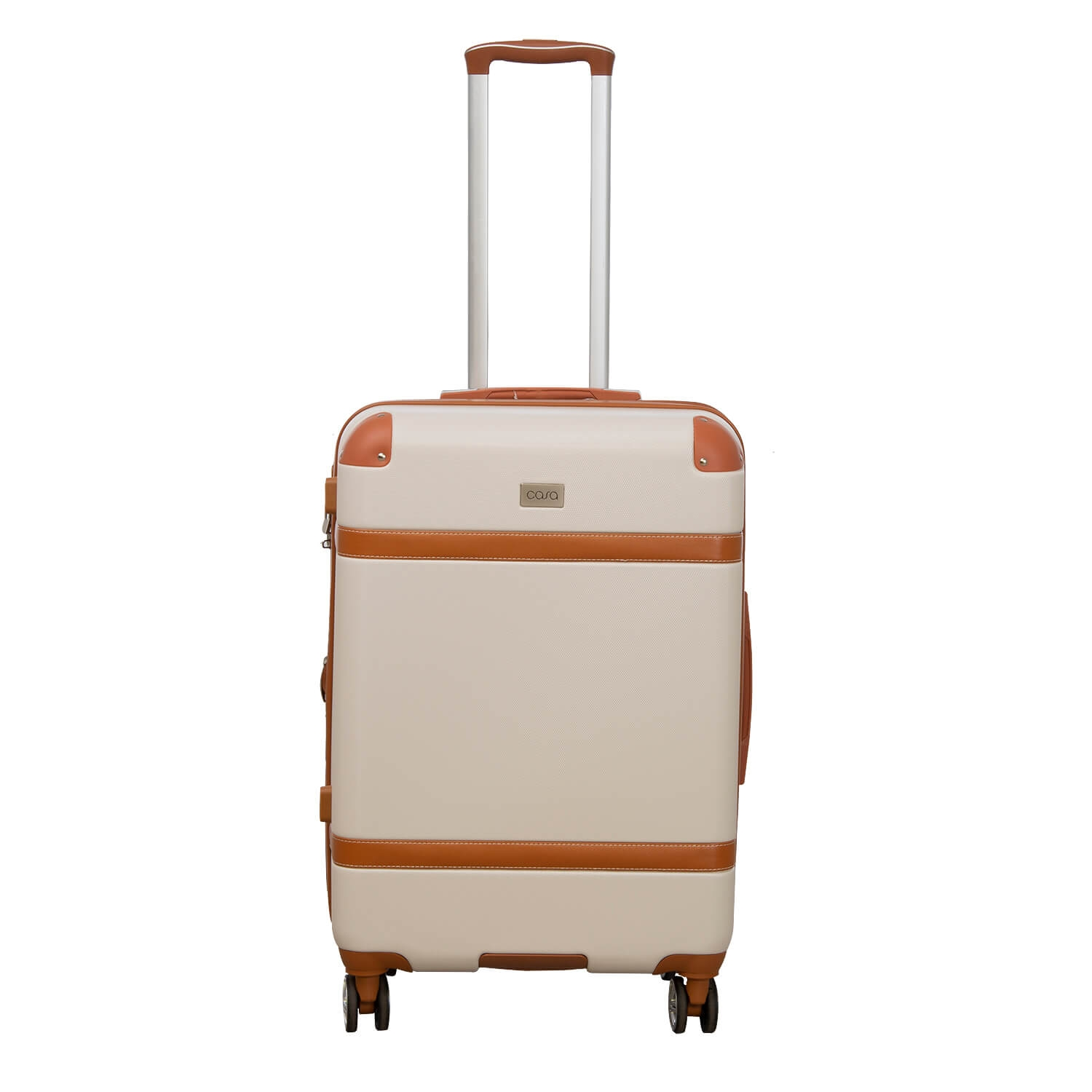 Image of Casa Contrast Banded Hard 40cm x 23cm x 65cm Suitcase, Cream And Tan
