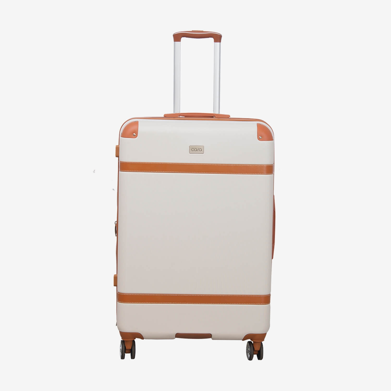 Image of Casa Contrast Banded Hard 44cm x 26cm x 76cm Suitcase , Cream And Tan