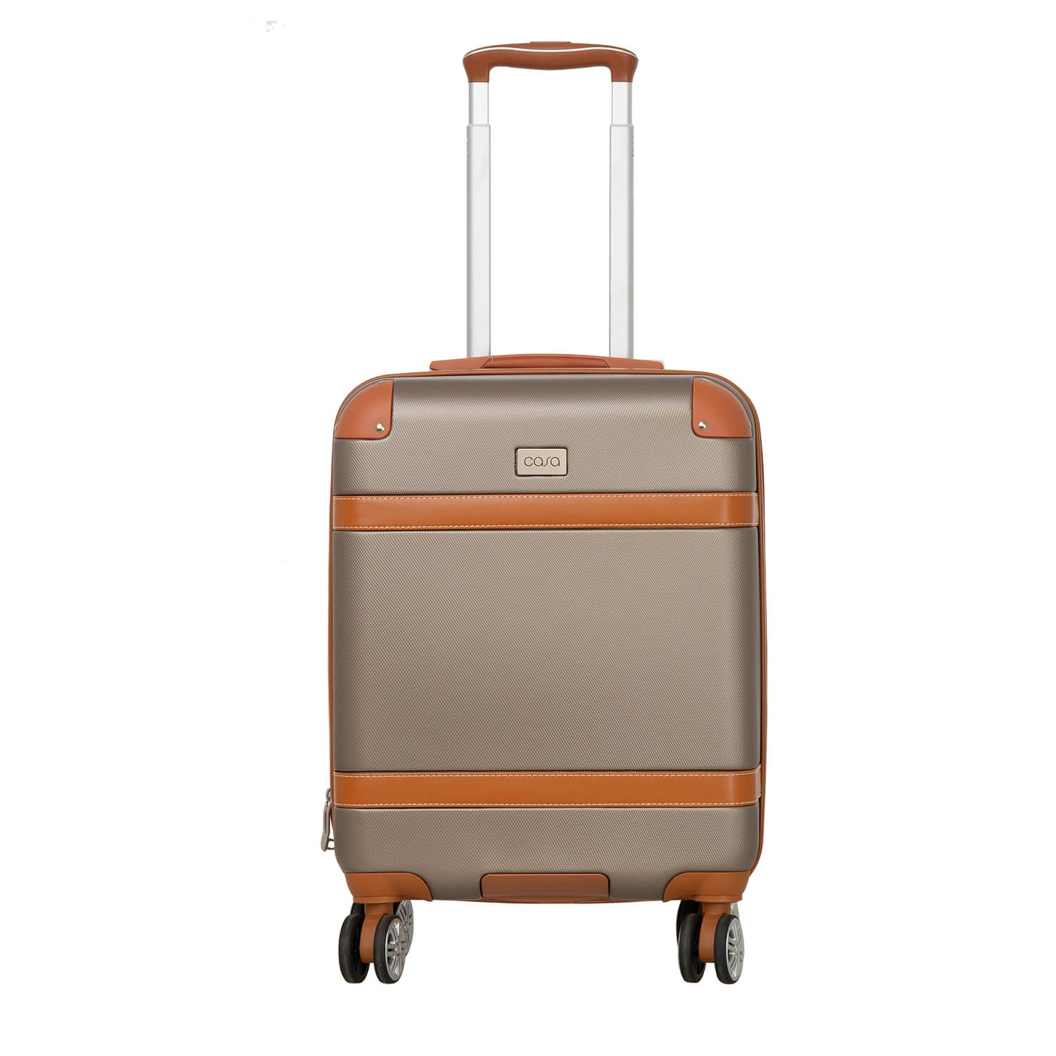 Image of Casa Contrast Banded Hard 34cm x 19cm x 53cm Suitcase, Champagne And Tan