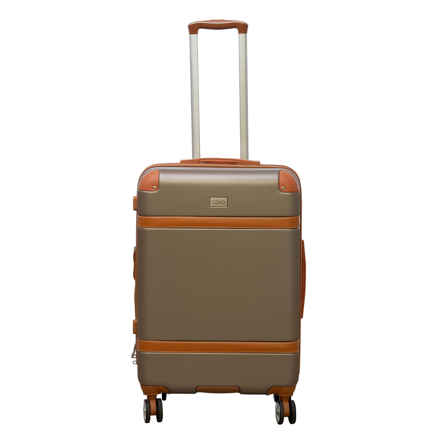 Image of Casa Contrast Banded Hard Case 40cm x 23cm x 65cm, Champagne And Tan