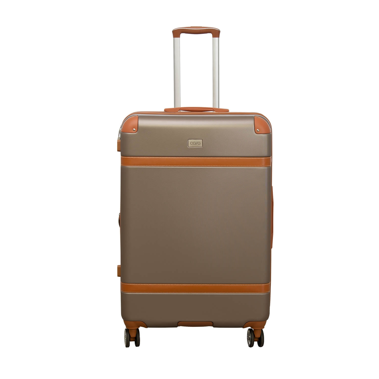 Image of Casa Contrast Banded Hard Case 44cm x 26cm x 76cm, Champagne And Tan