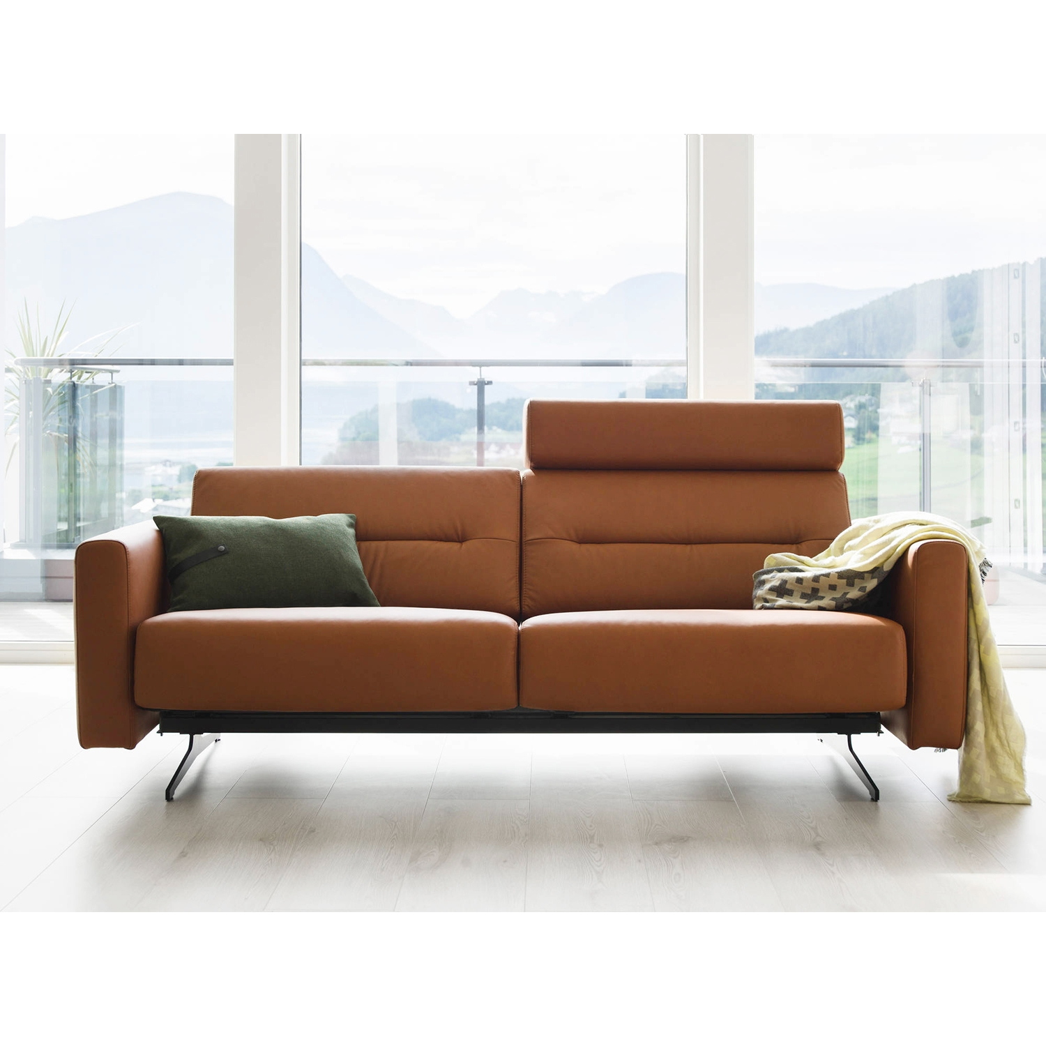 Image of Stressless Stella 2 Seater Leather Sofa With Headrest, Paloma Copper