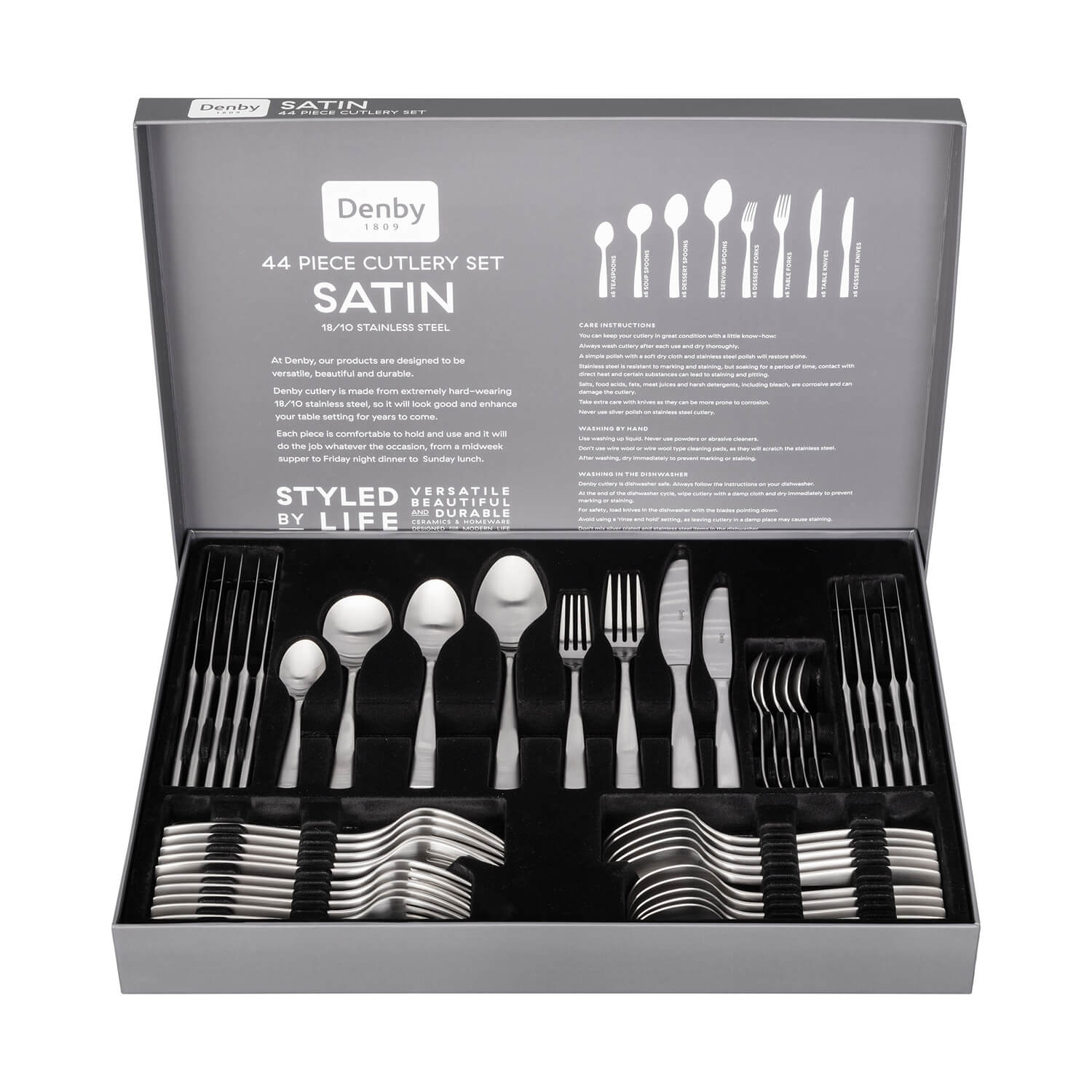 Image of Denby Satin 44 Piece Cutlery Set, Stainless Steel