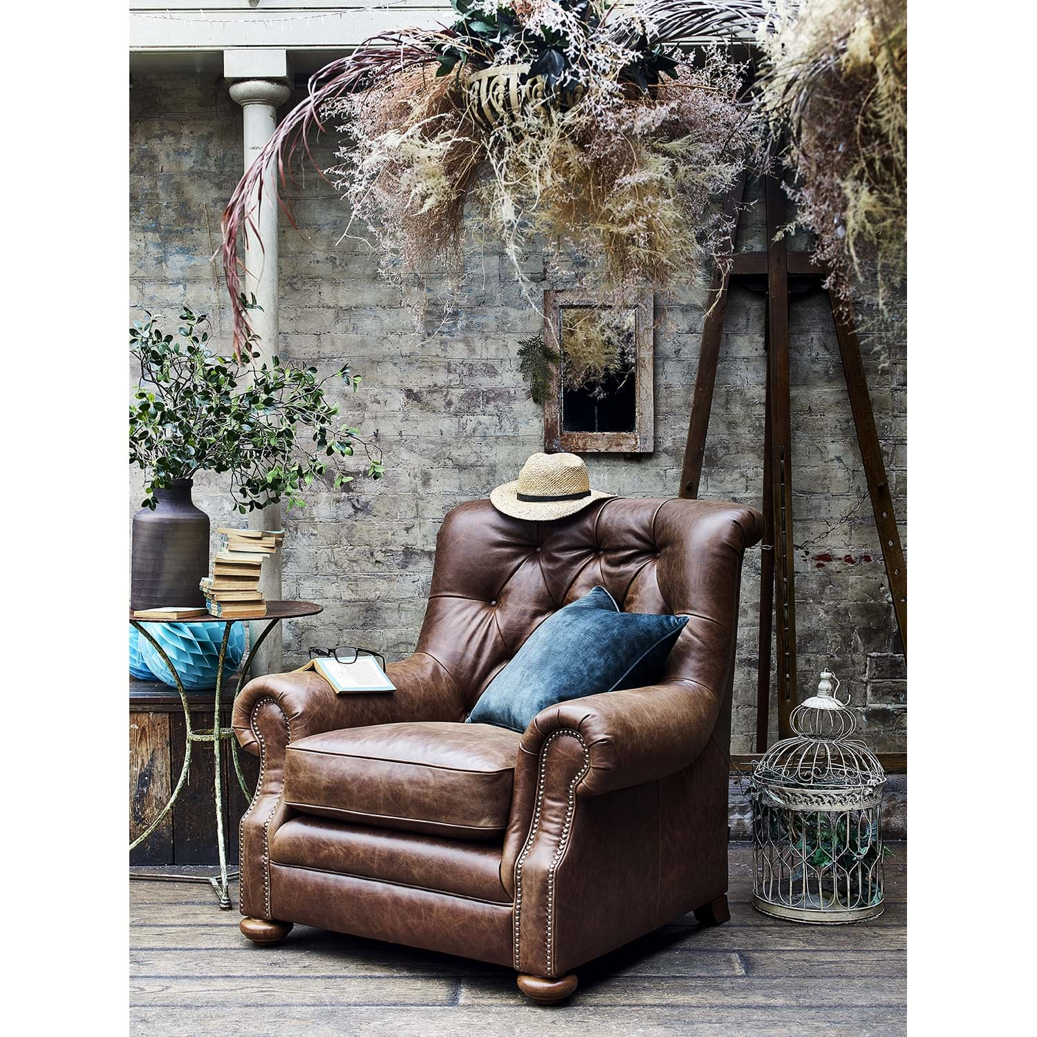Image of Alexander & James Fable Leather Armchair, Jin Brown