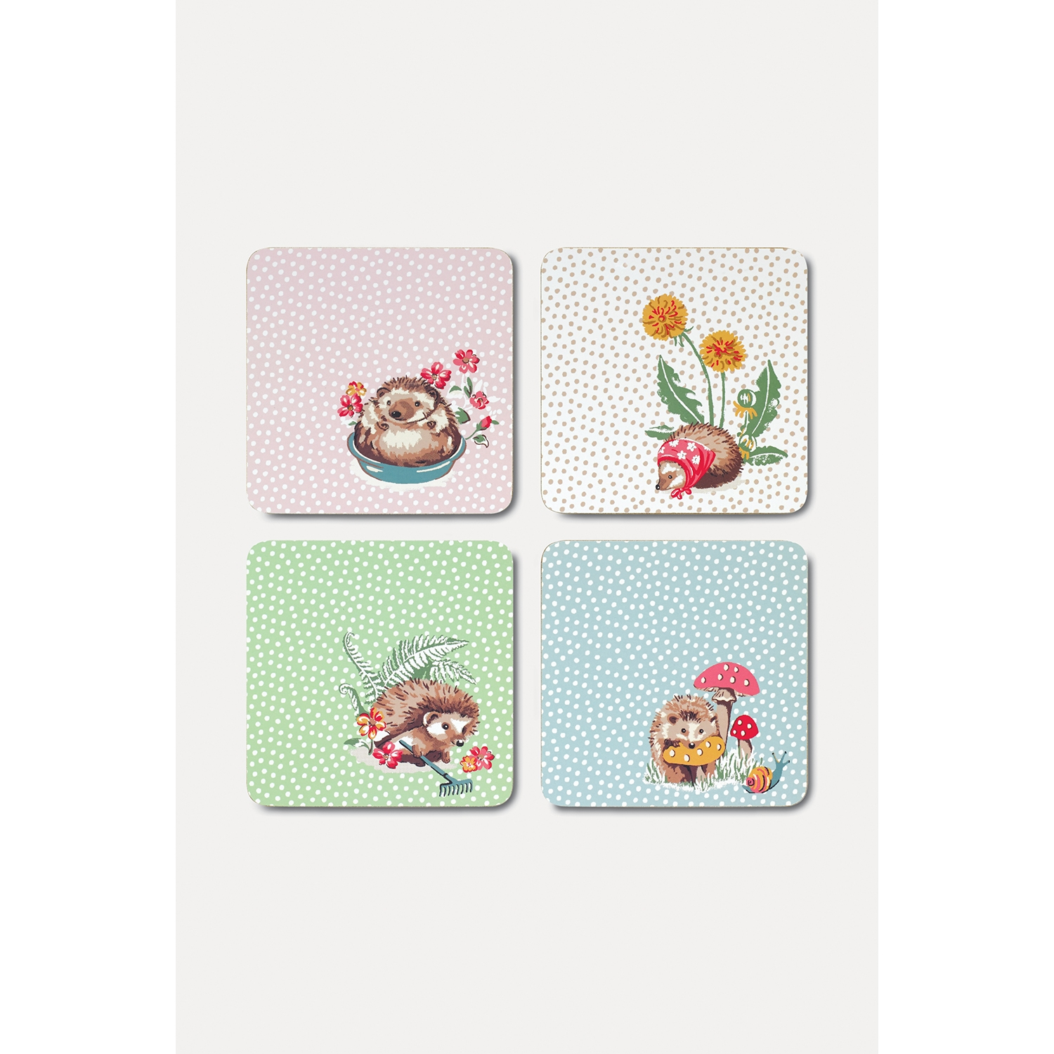 Image of Cath Kidston Coasters, Set of 4, Gardener's Club, Light Pink