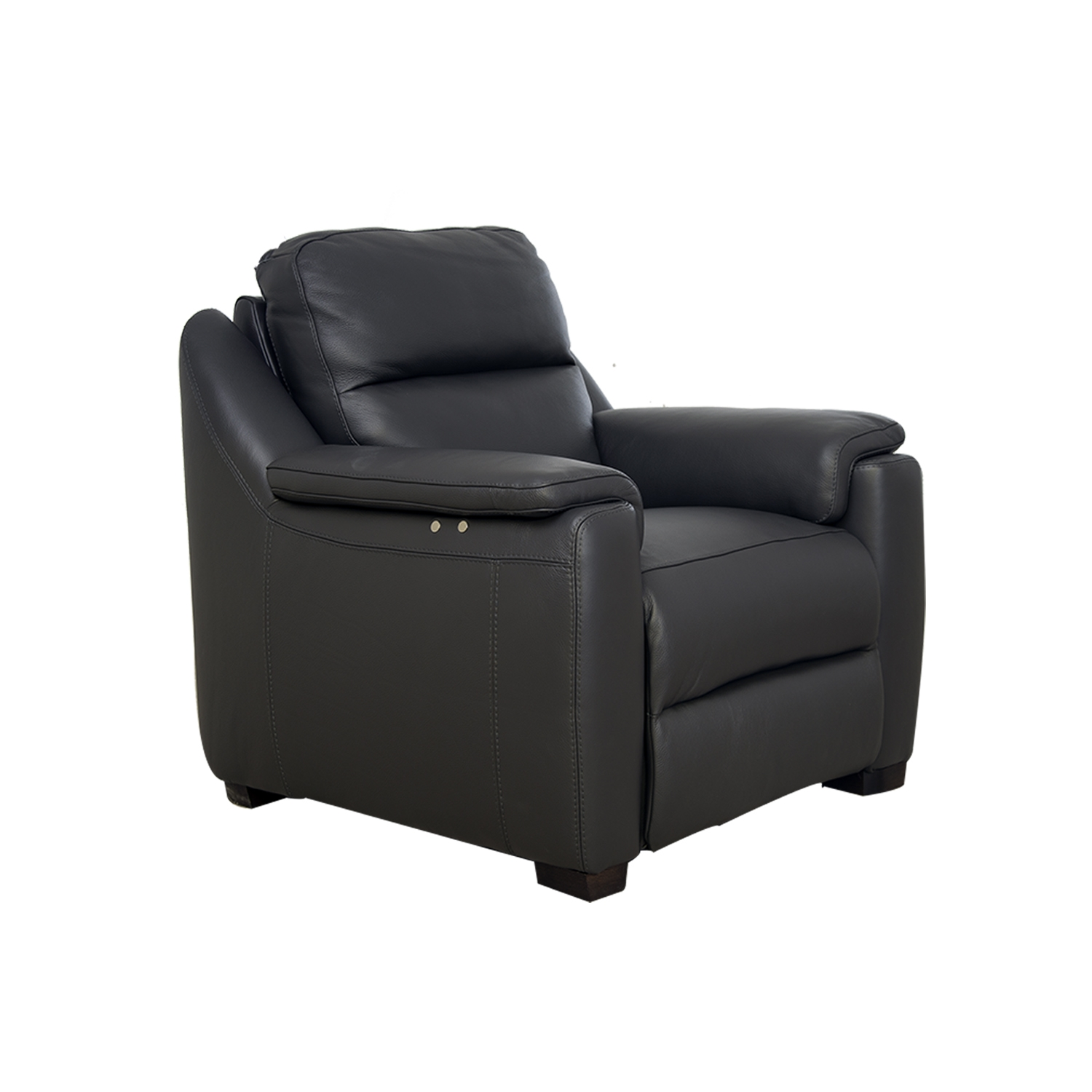 Image of Italia Living Parma Power Recliner Leather Chair, Dark Grey