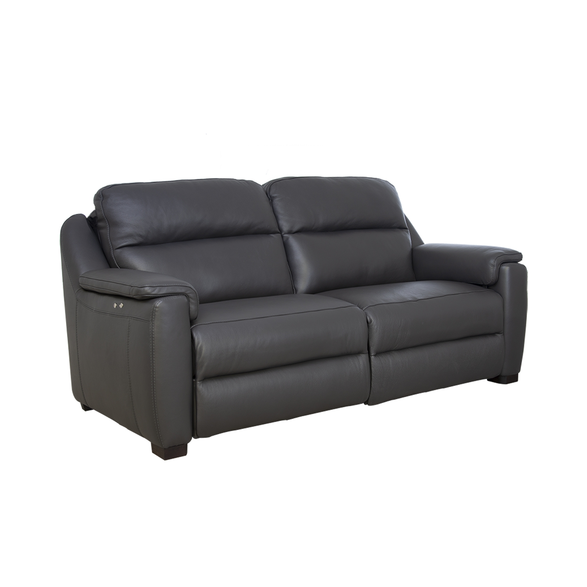 Image of Italia Living Parma 3 Seater Power Recliner Leather Sofa, Dark Grey